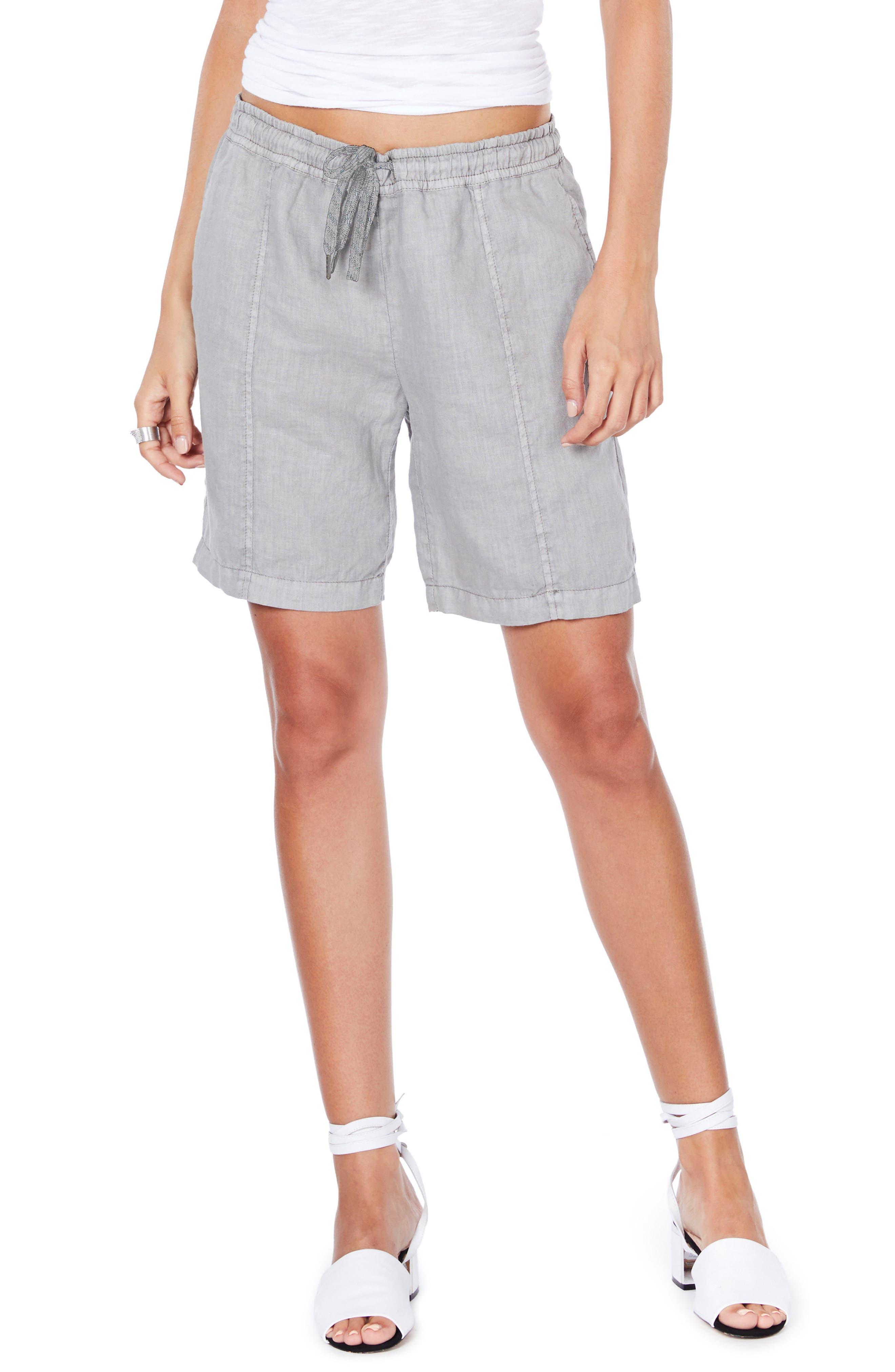 Linen Bermuda Shorts,                         Main,                         color, Galvanized