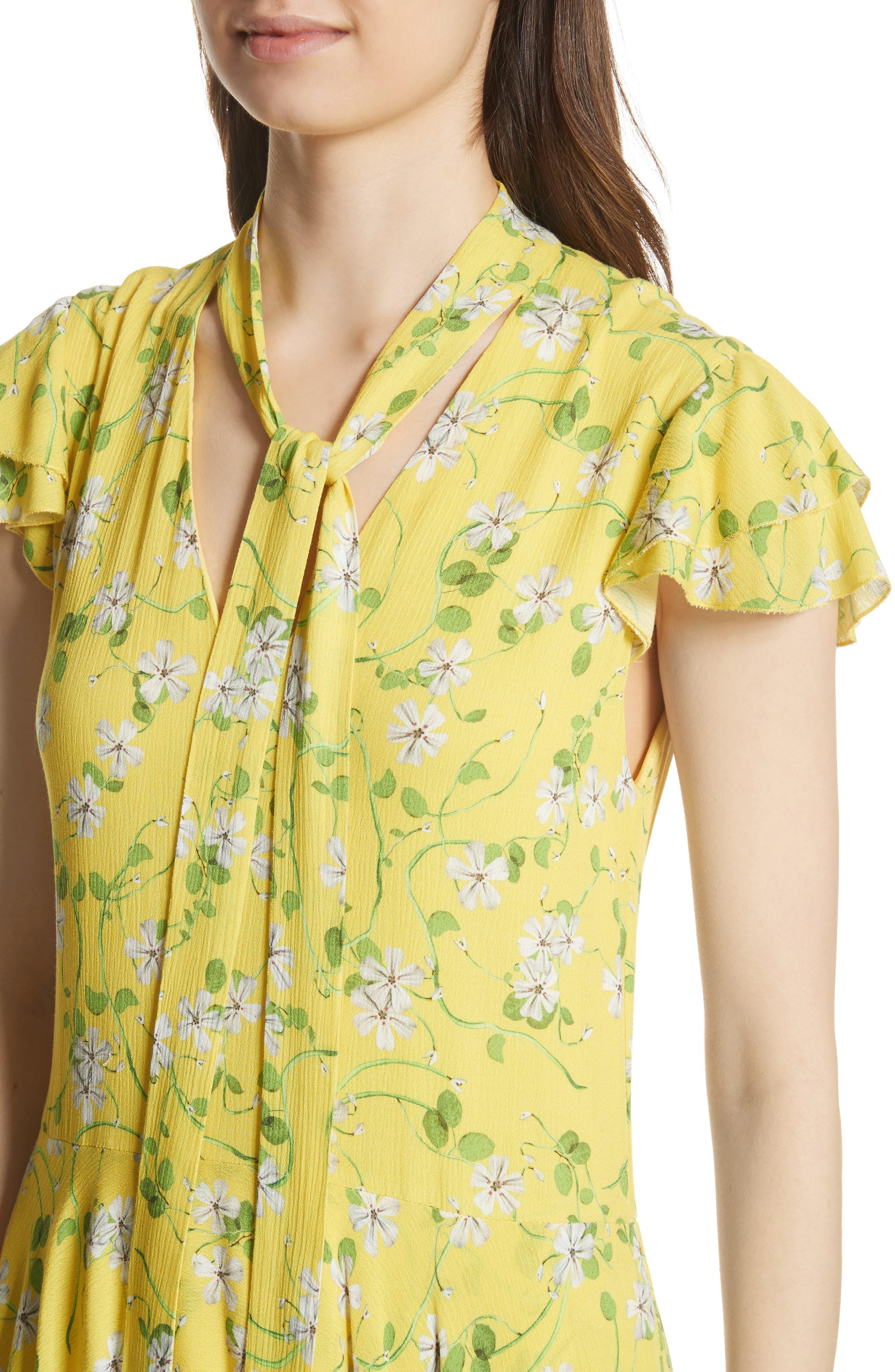 Moore Flutter Sleeve Layered Tunic Dress,                             Alternate thumbnail 4, color,                             Spring Primrose-Lemon