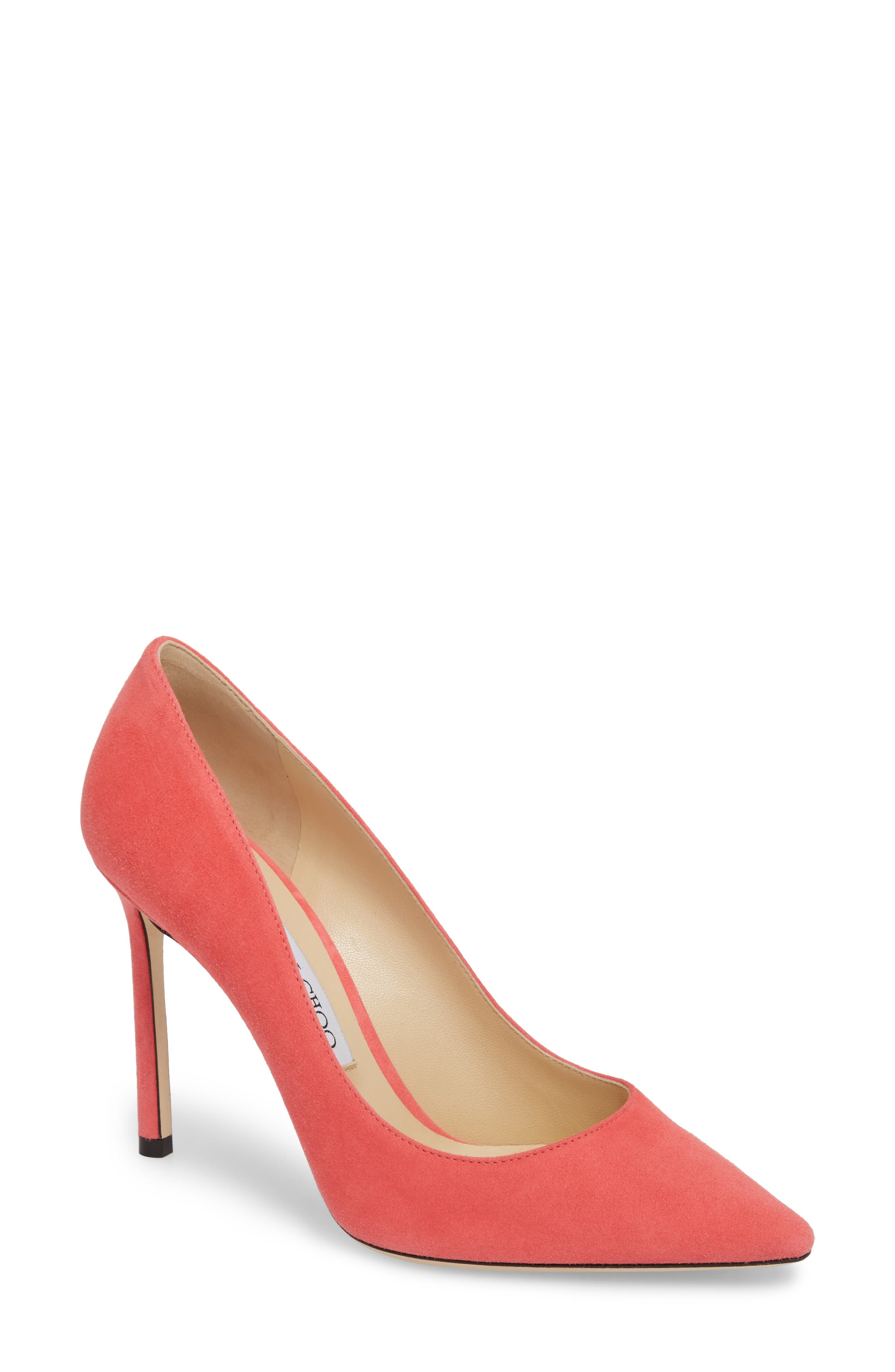 'Romy' Pointy Toe Pump,                         Main,                         color, Flamingo Pink
