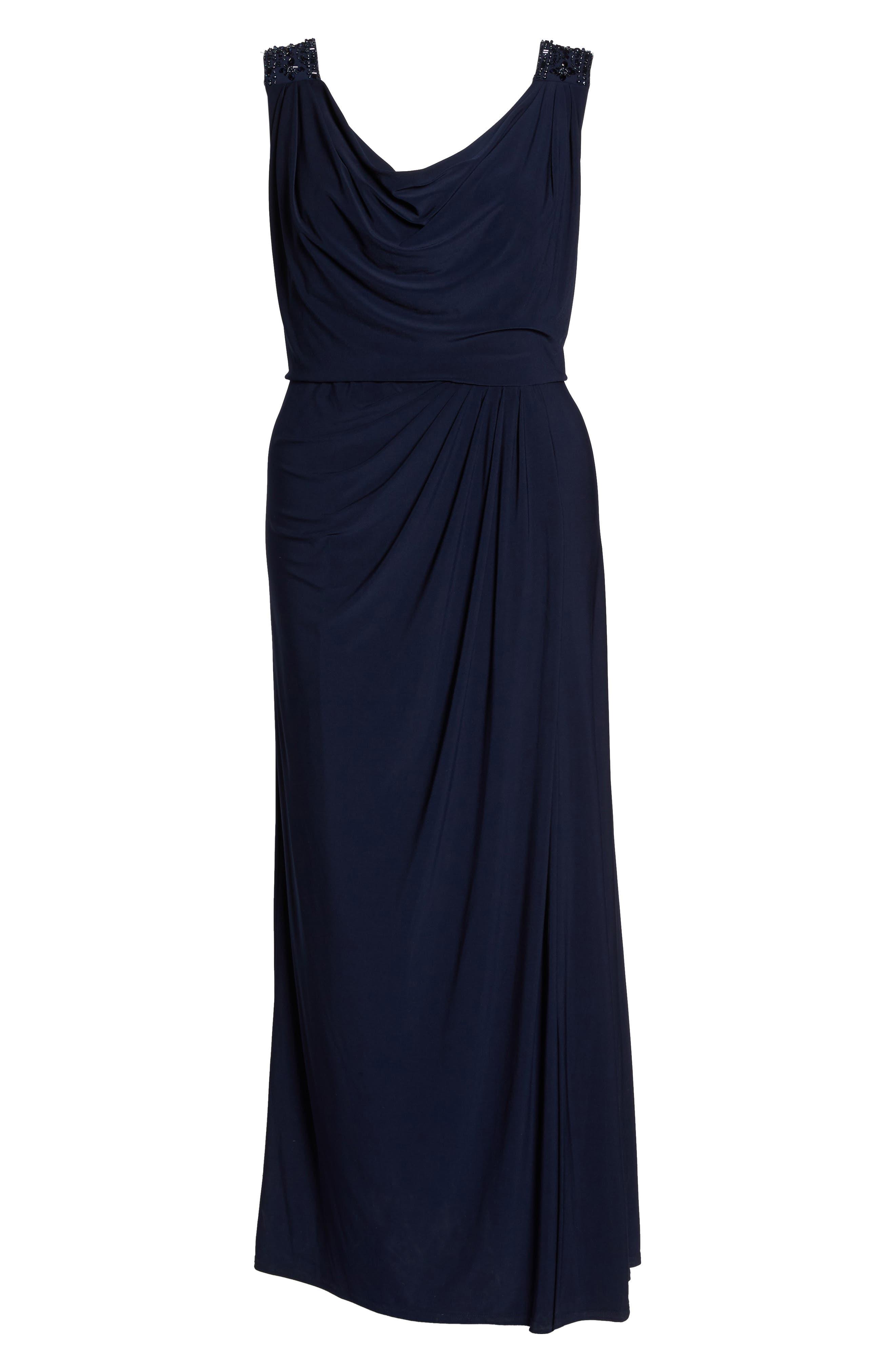 Cowl Neck A-Line Dress,                             Alternate thumbnail 6, color,                             Navy