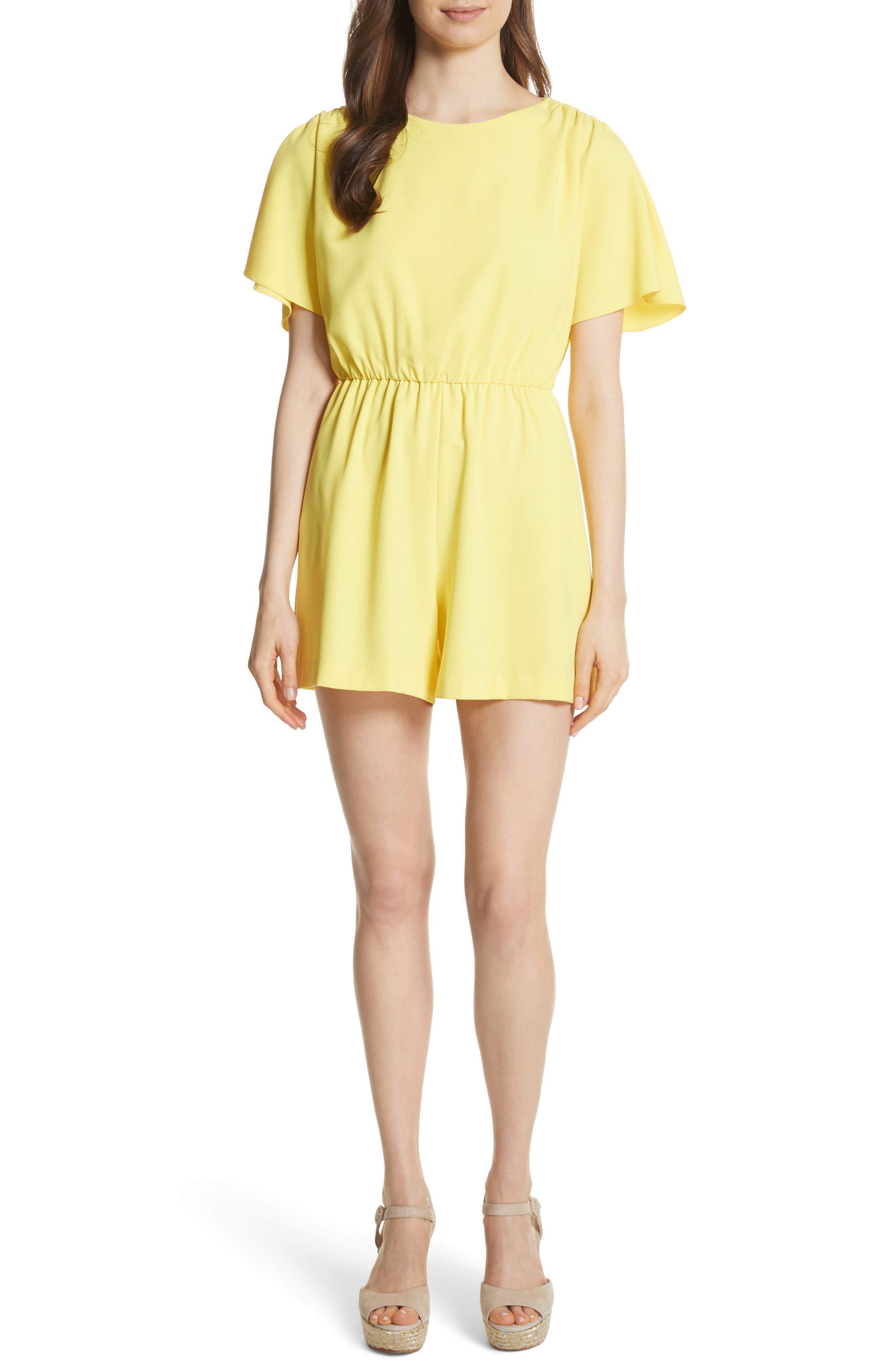 Ashlea Flutter Sleeve Romper,                             Main thumbnail 1, color,                             Lemon