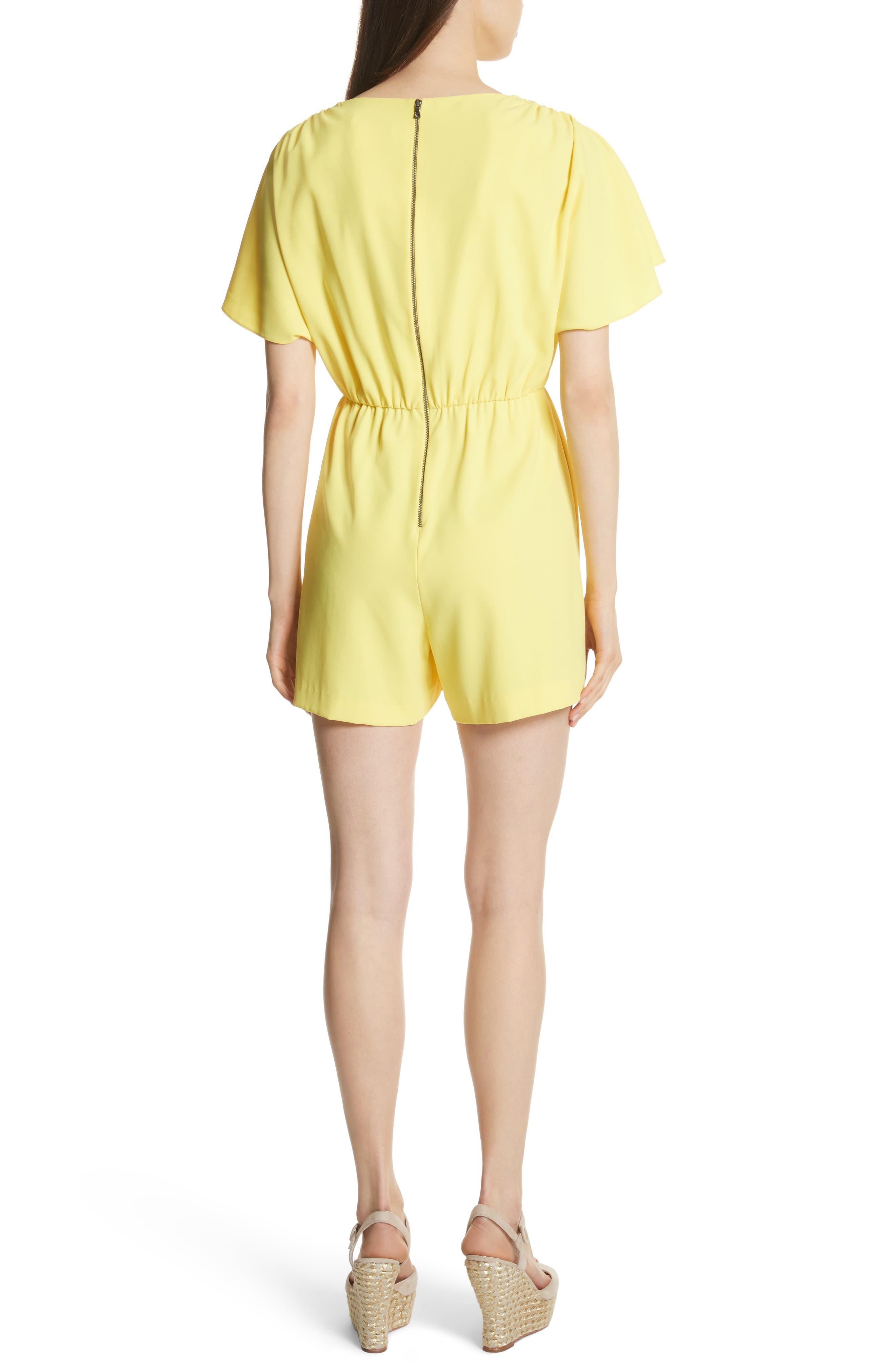 Ashlea Flutter Sleeve Romper,                             Alternate thumbnail 2, color,                             Lemon