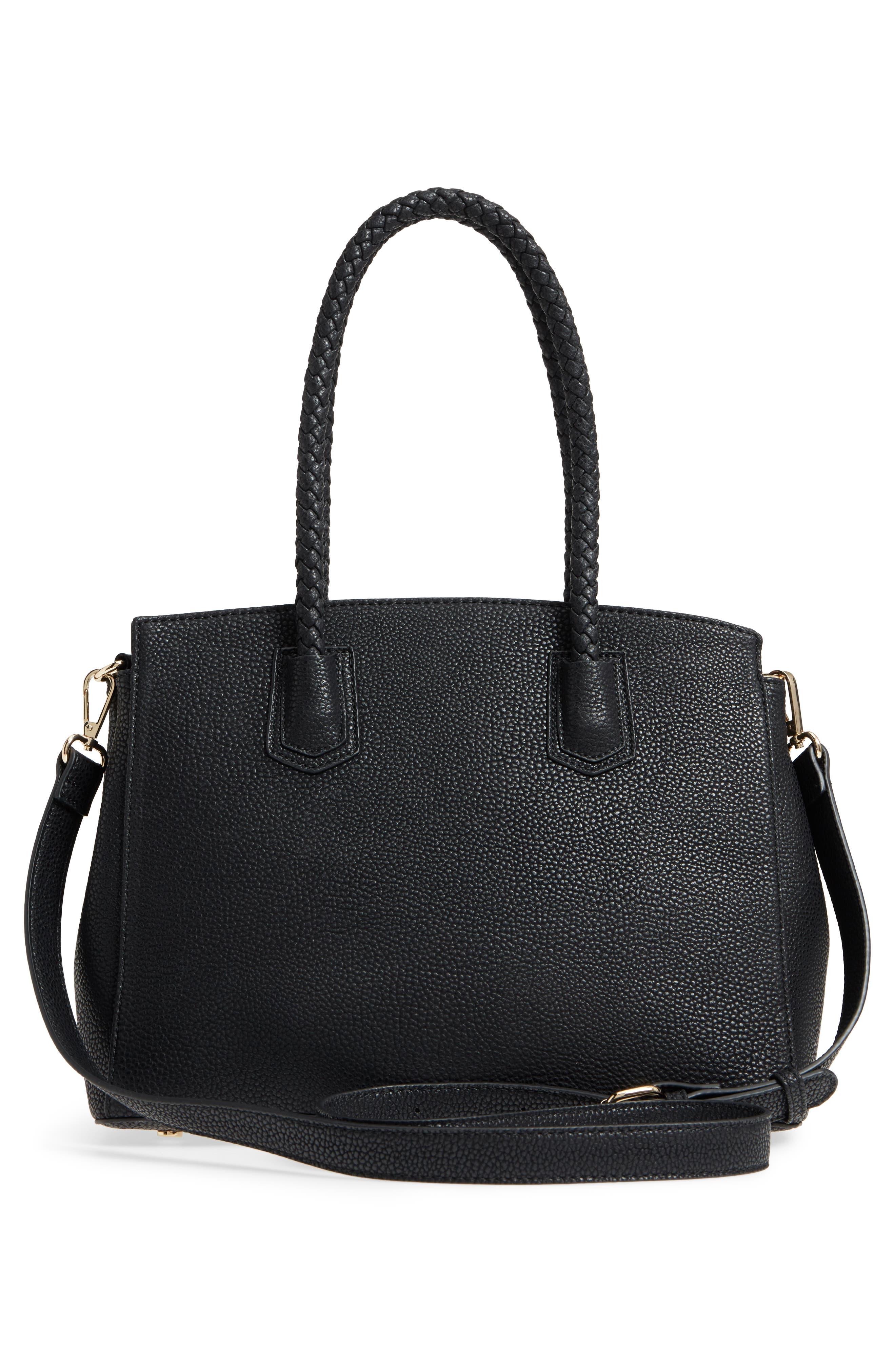 Lexington Faux Leather Satchel,                             Alternate thumbnail 3, color,                             Black