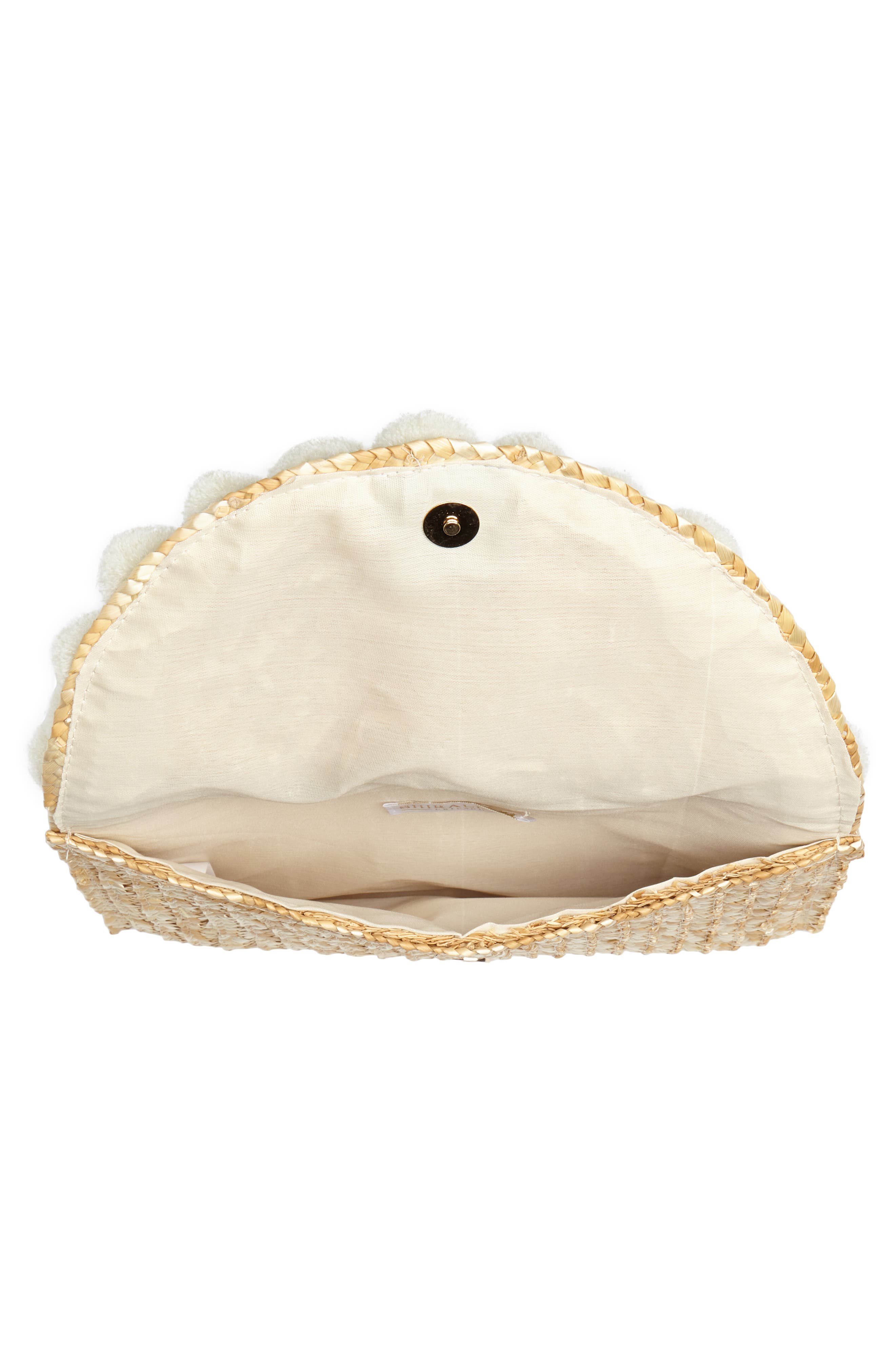 Fortuna Straw Clutch,                             Alternate thumbnail 4, color,                             Natural