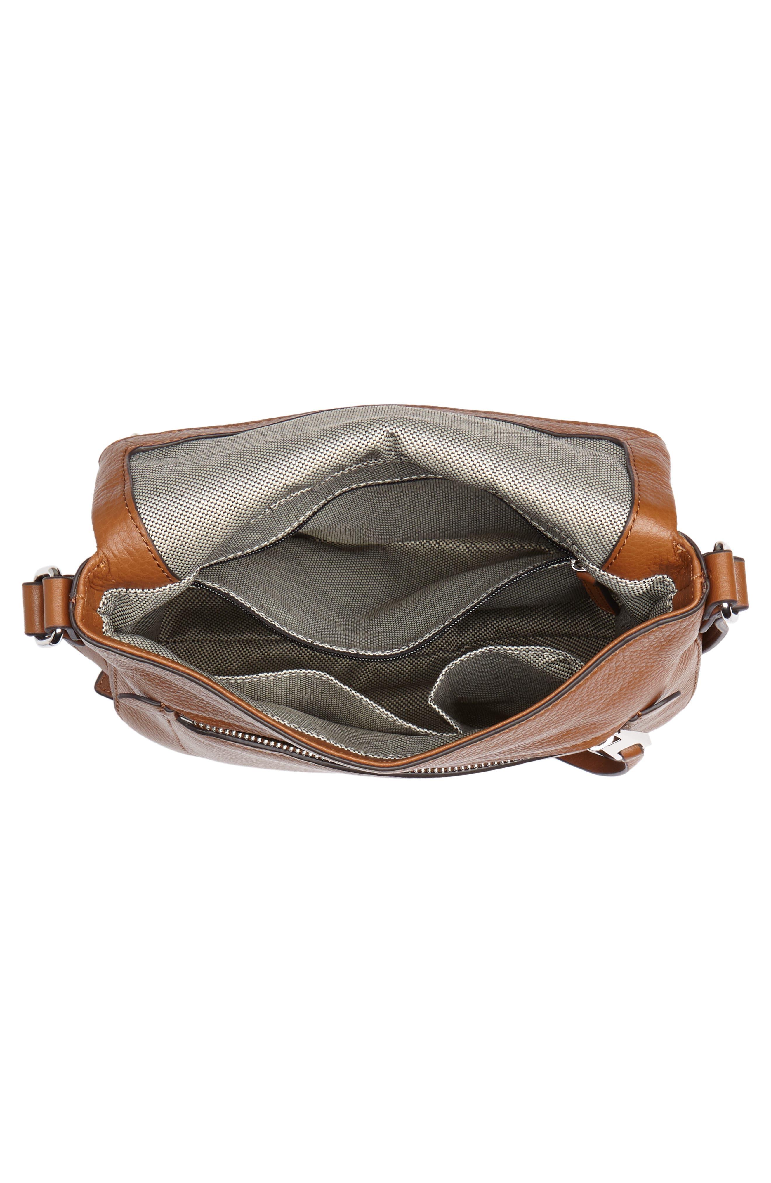 'Tala' Leather Crossbody Bag,                             Alternate thumbnail 4, color,                             Dark Rum
