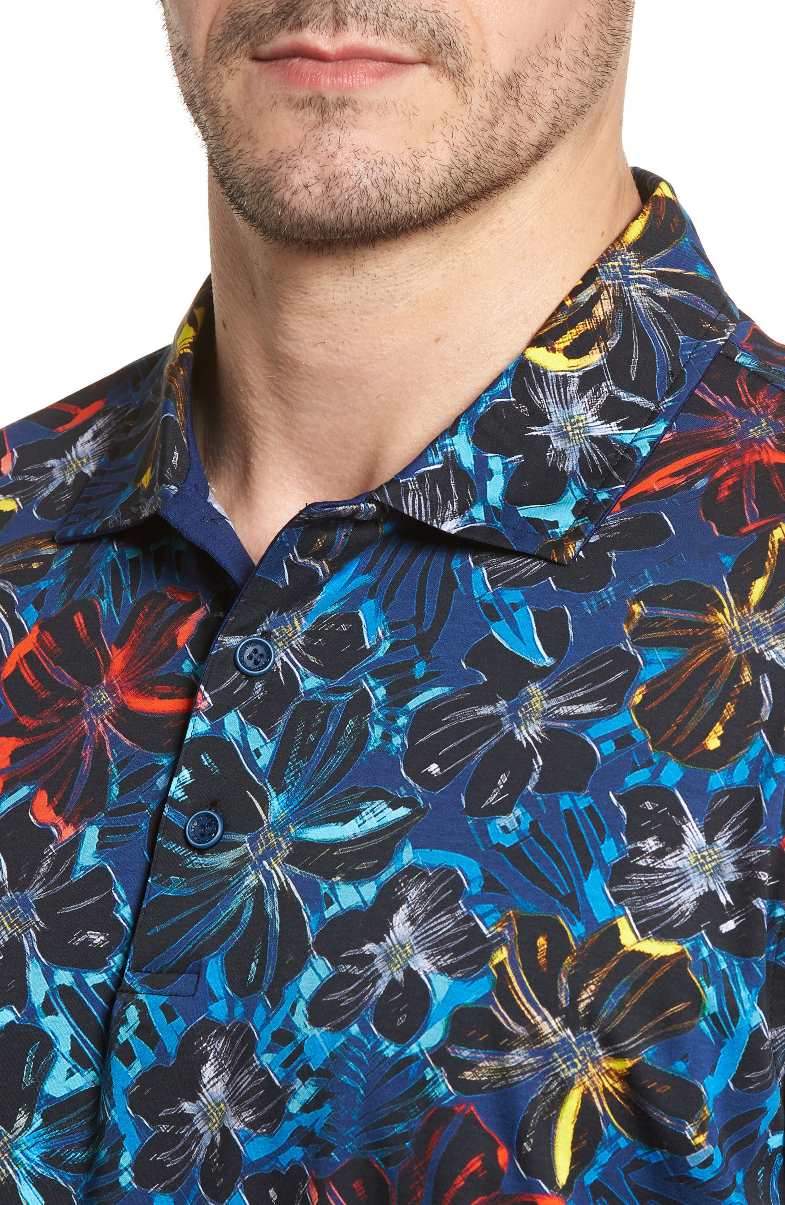 Classic Fit Floral Digital Print Polo,                             Alternate thumbnail 4, color,                             Midnight