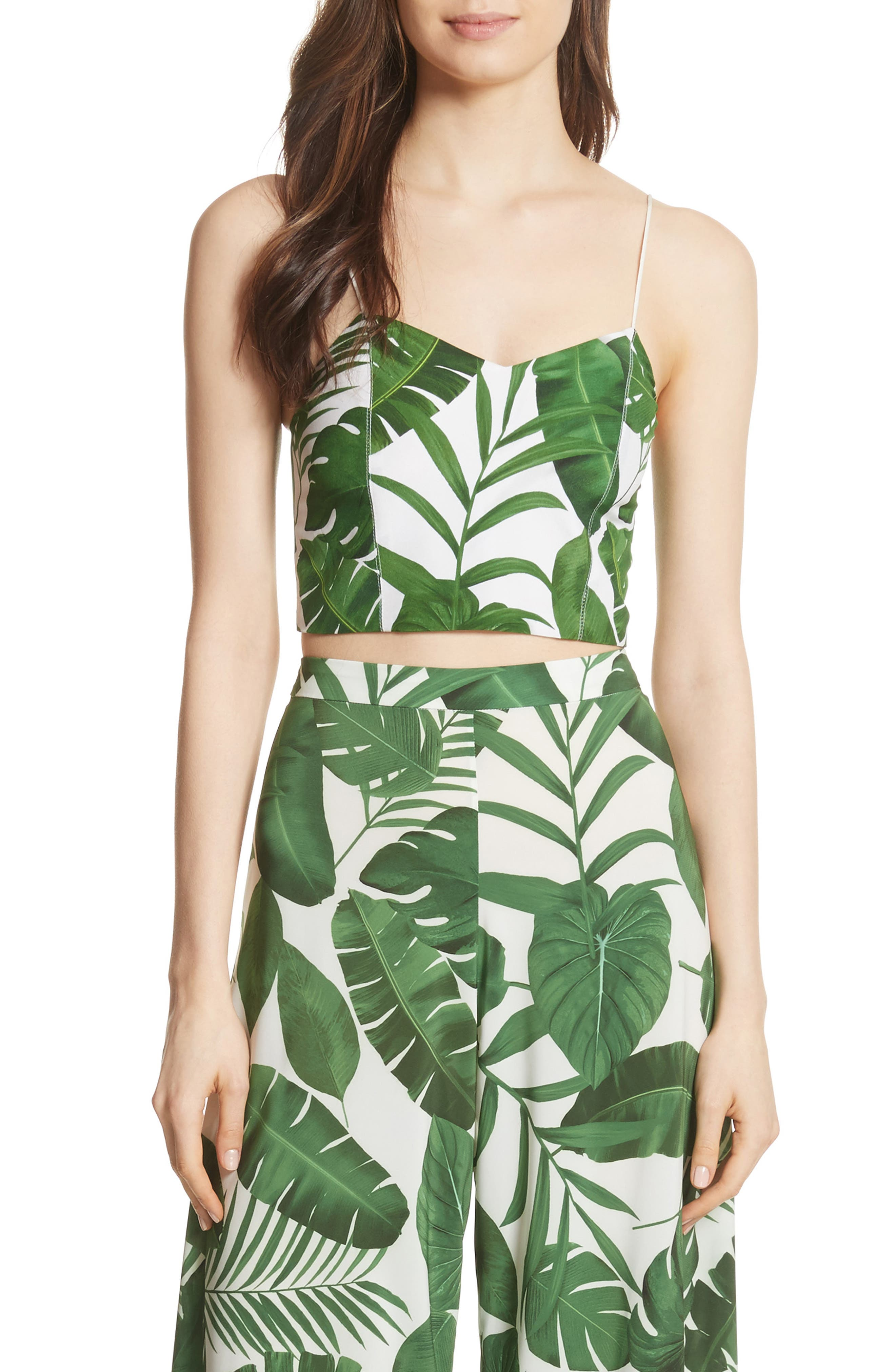 Archer Crop Silk Camisole,                             Main thumbnail 1, color,                             Tropical Leaves