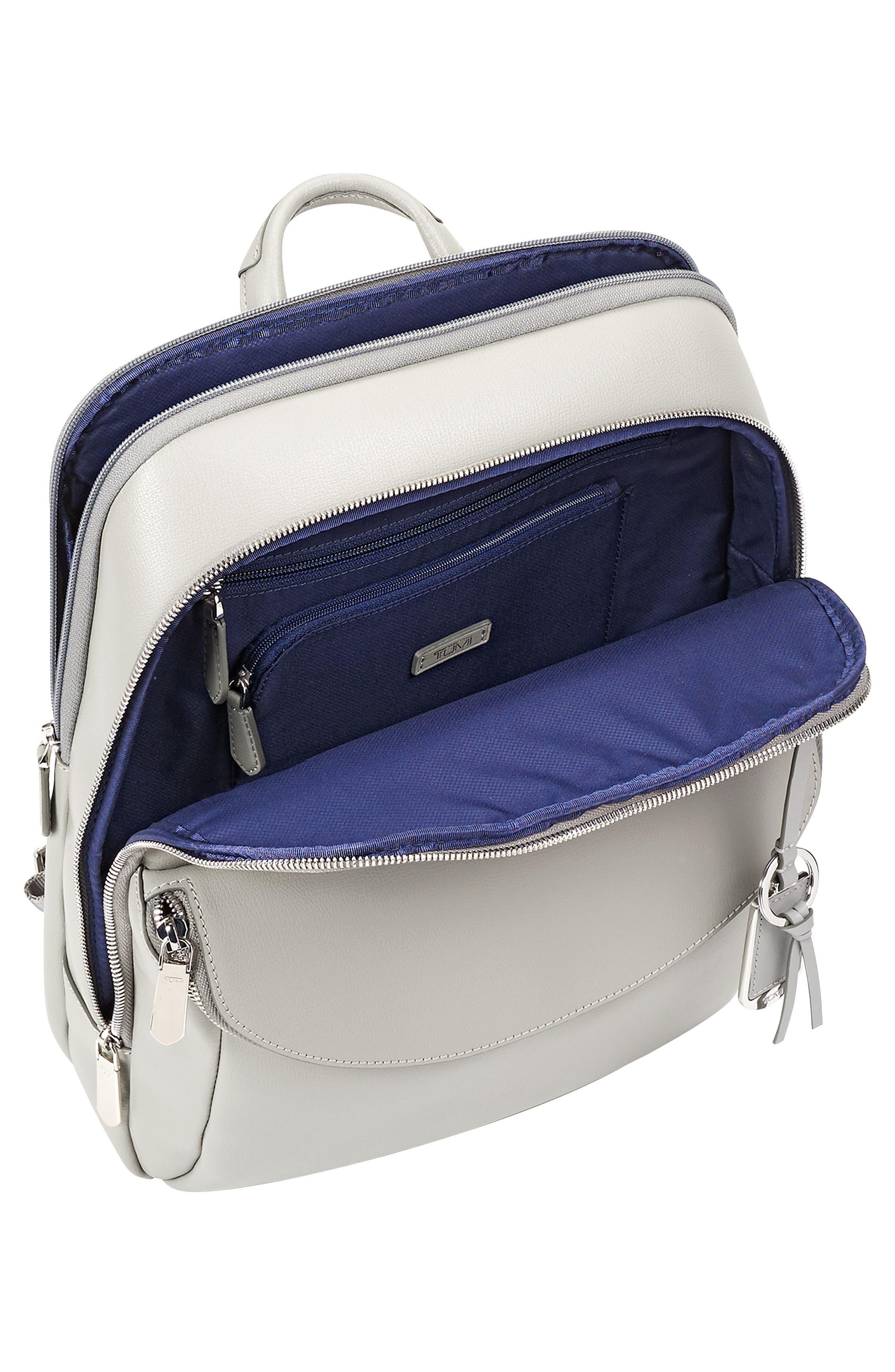 Stanton Hettie Leather Backpack,                             Alternate thumbnail 3, color,                             Light Grey