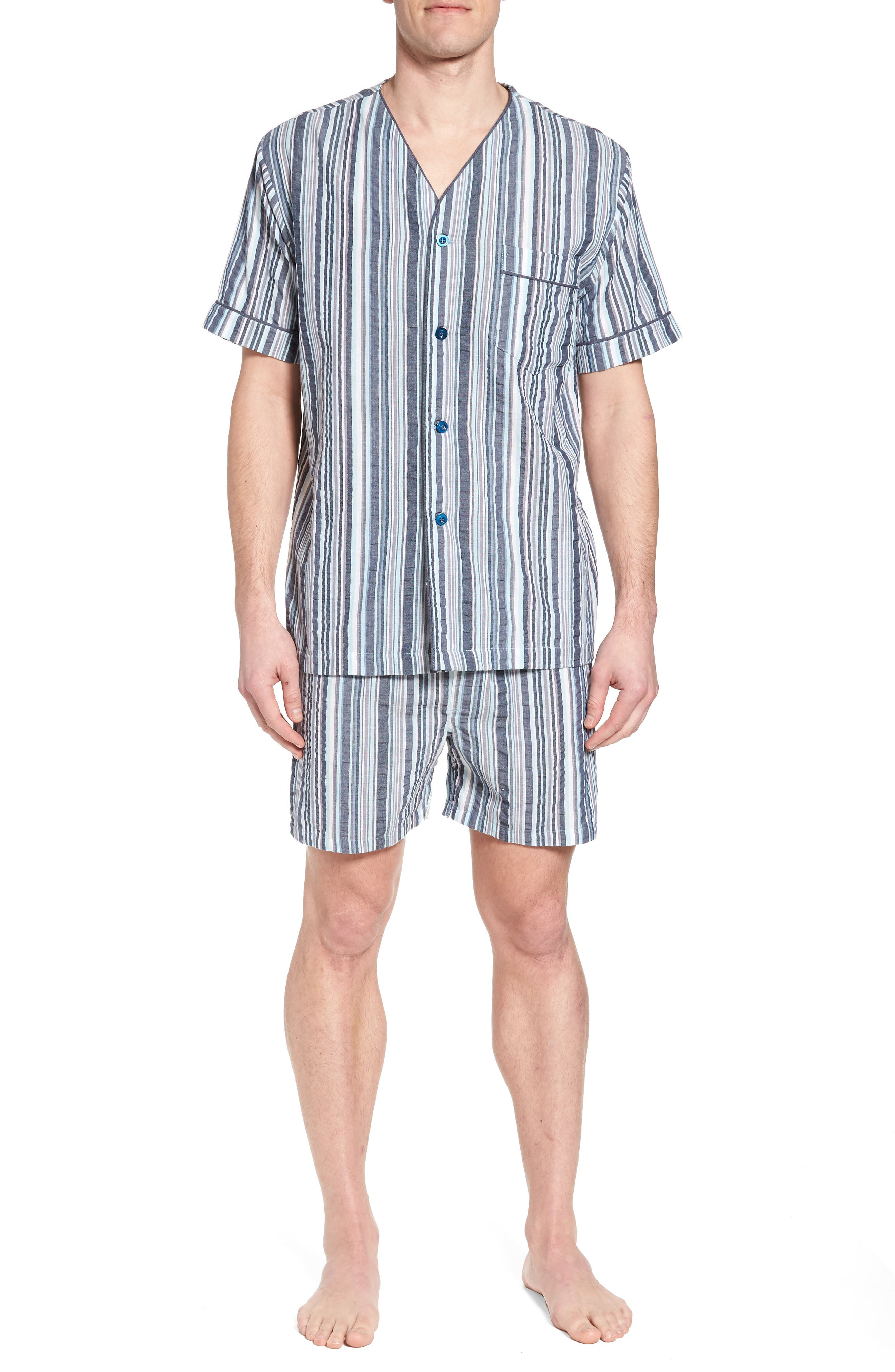 Summer Shell Short Pajamas,                             Main thumbnail 1, color,                             Ash