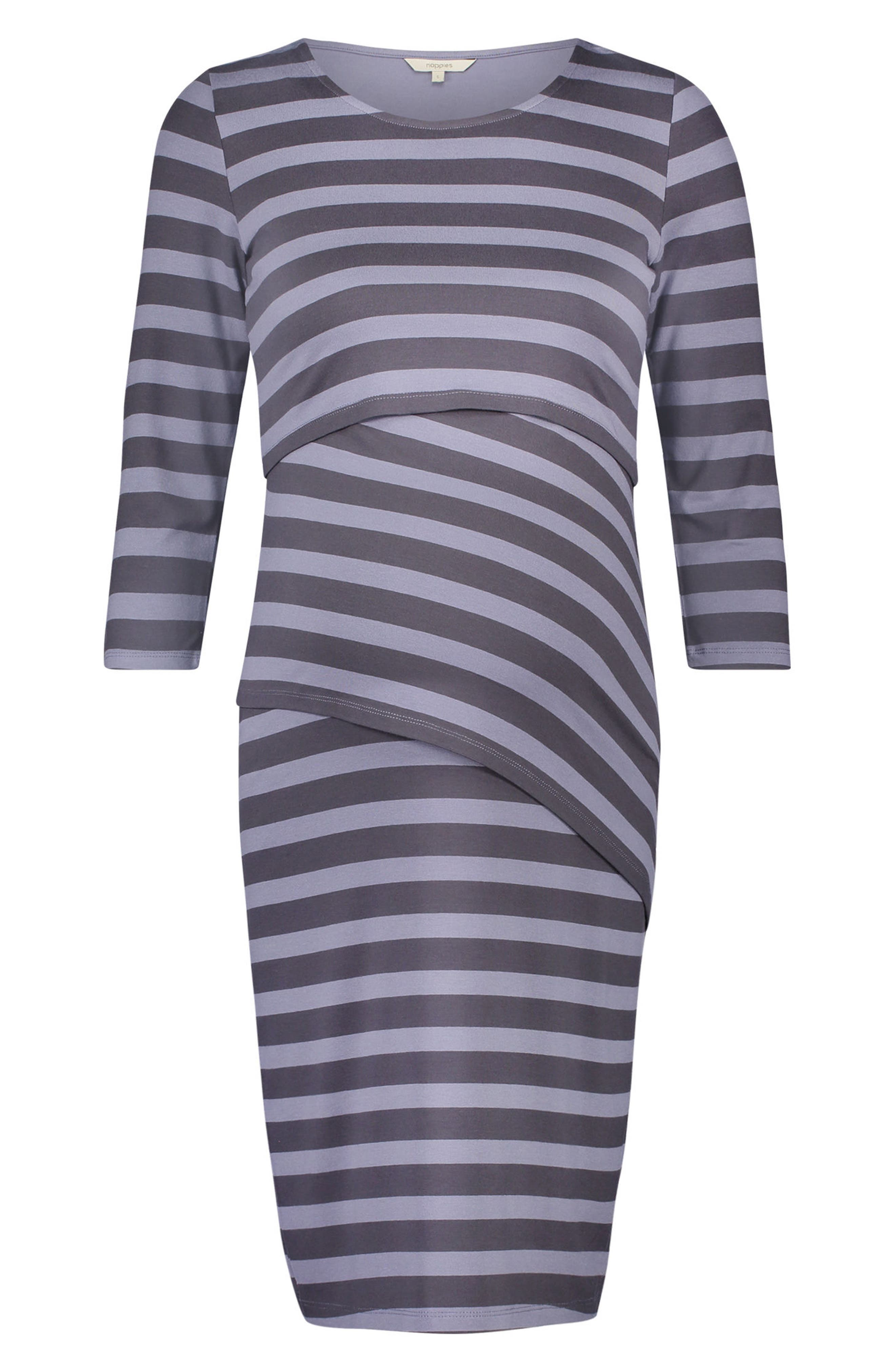 Aaike Maternity/Nursing Sheath Dress,                             Alternate thumbnail 4, color,                             Blue Strip
