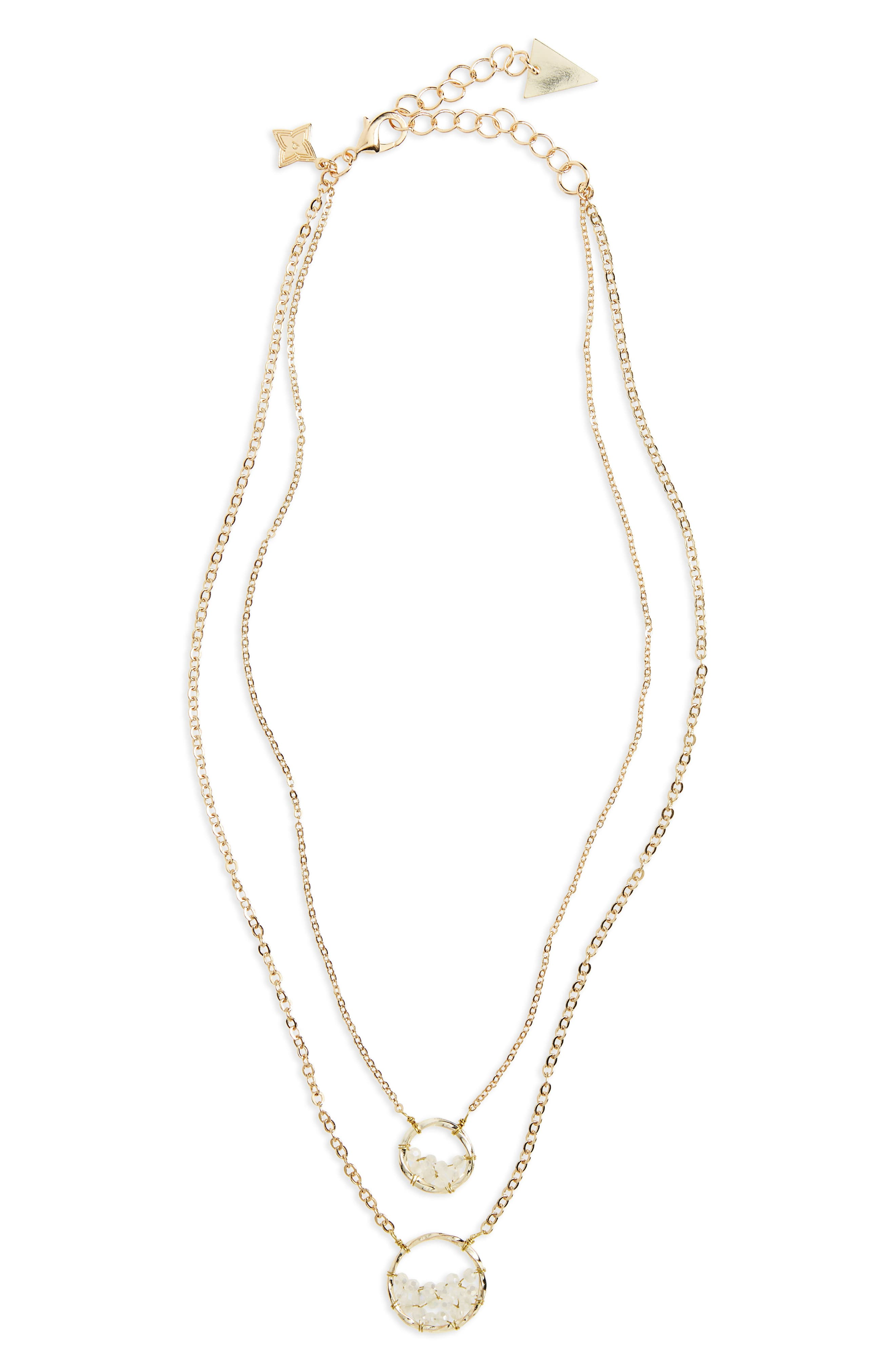Crystal Circle Double Chain Necklace,                         Main,                         color, White