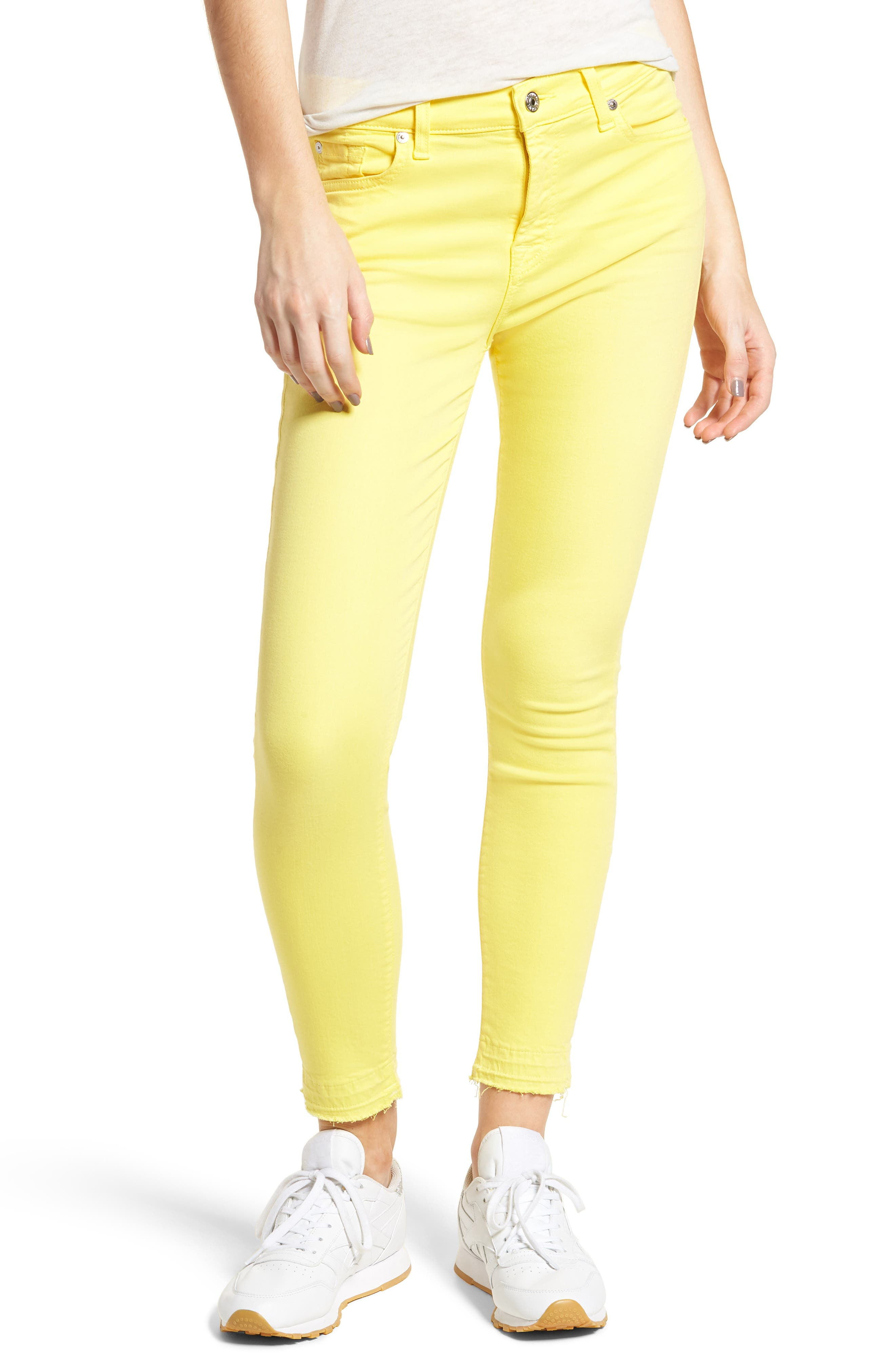 Released Hem Ankle Skinny Jeans,                             Main thumbnail 1, color,                             Vivid Yellow
