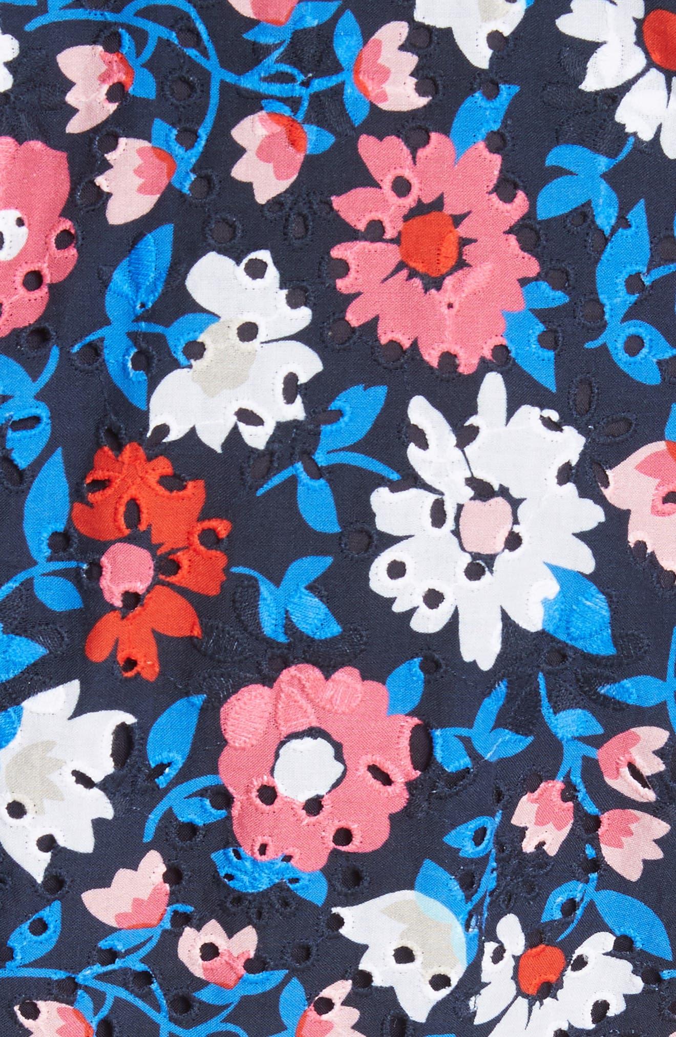 daisy eyelet minidress,                             Alternate thumbnail 5, color,                             Rich Navy