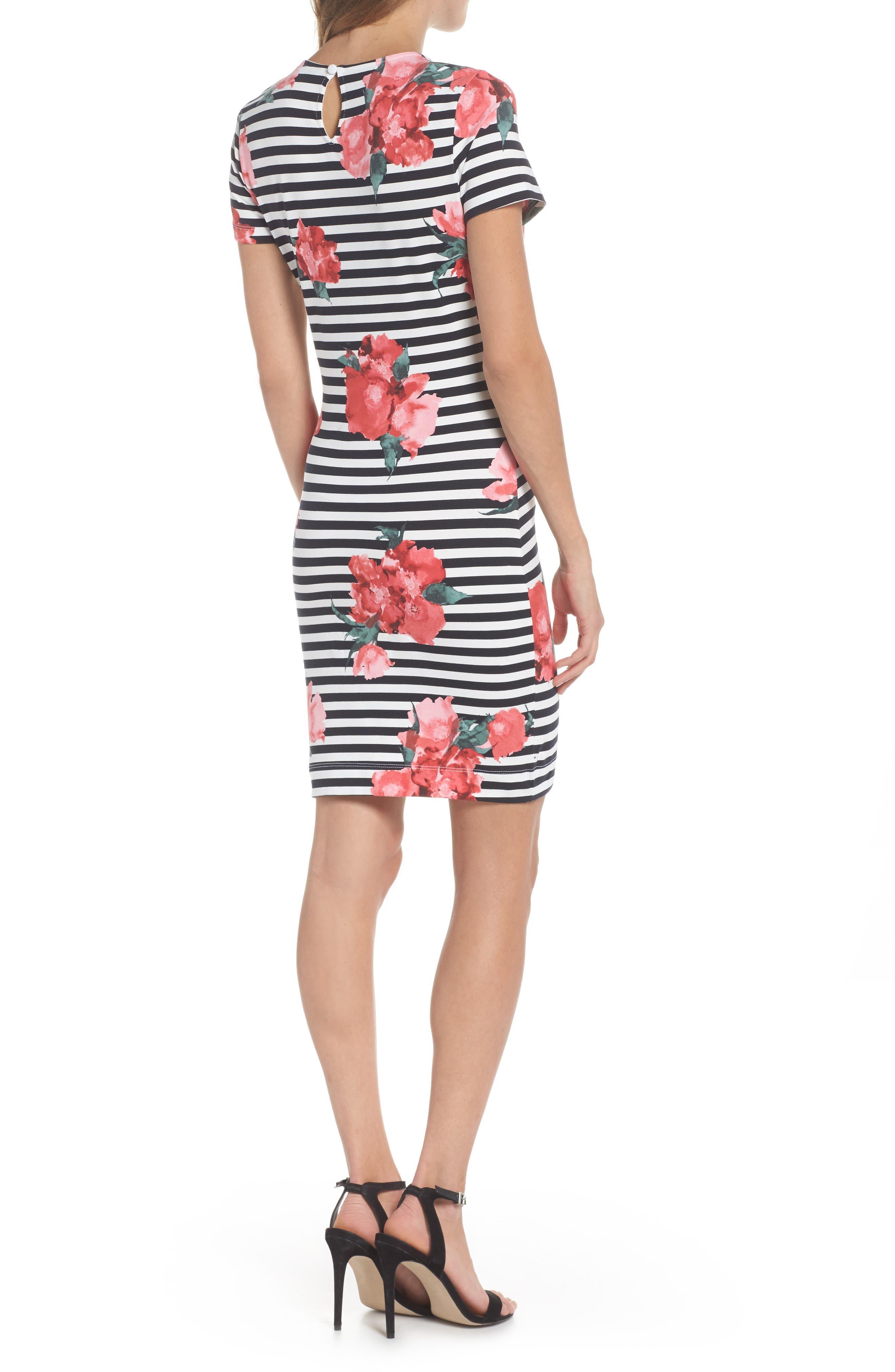 Jude Flower Stripe Knit Dress,                             Alternate thumbnail 2, color,                             Nocturnal Multi