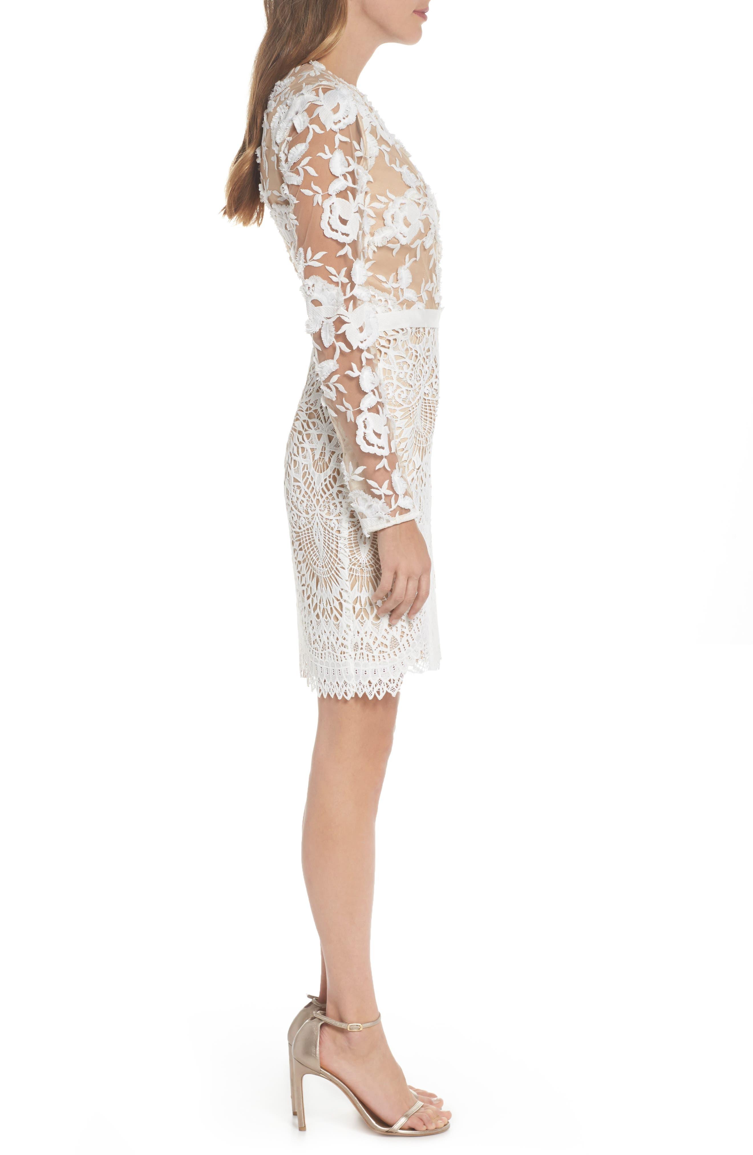 Calypso Lace Sheath Dress,                             Alternate thumbnail 3, color,                             Ivory Nude