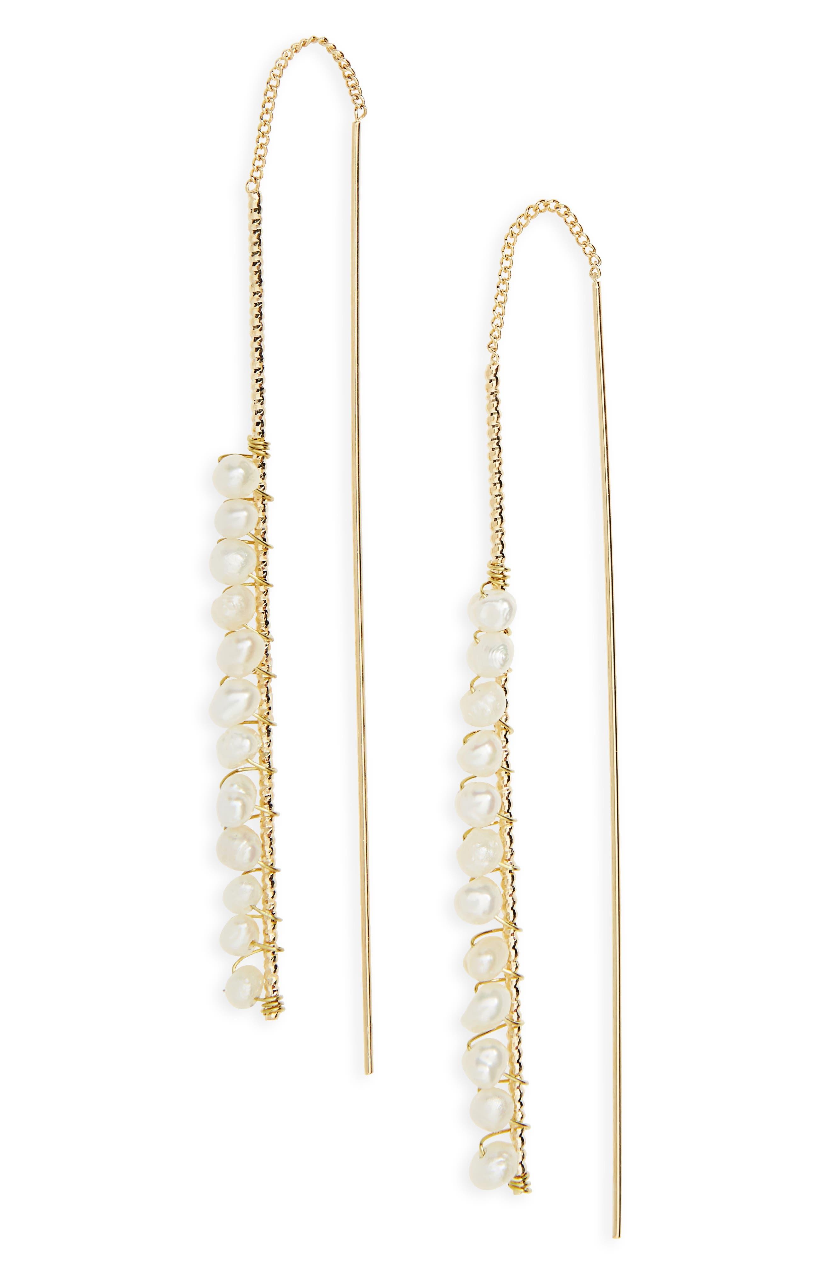 Freshwater Pearl Linear Threader Earrings,                             Main thumbnail 1, color,                             White