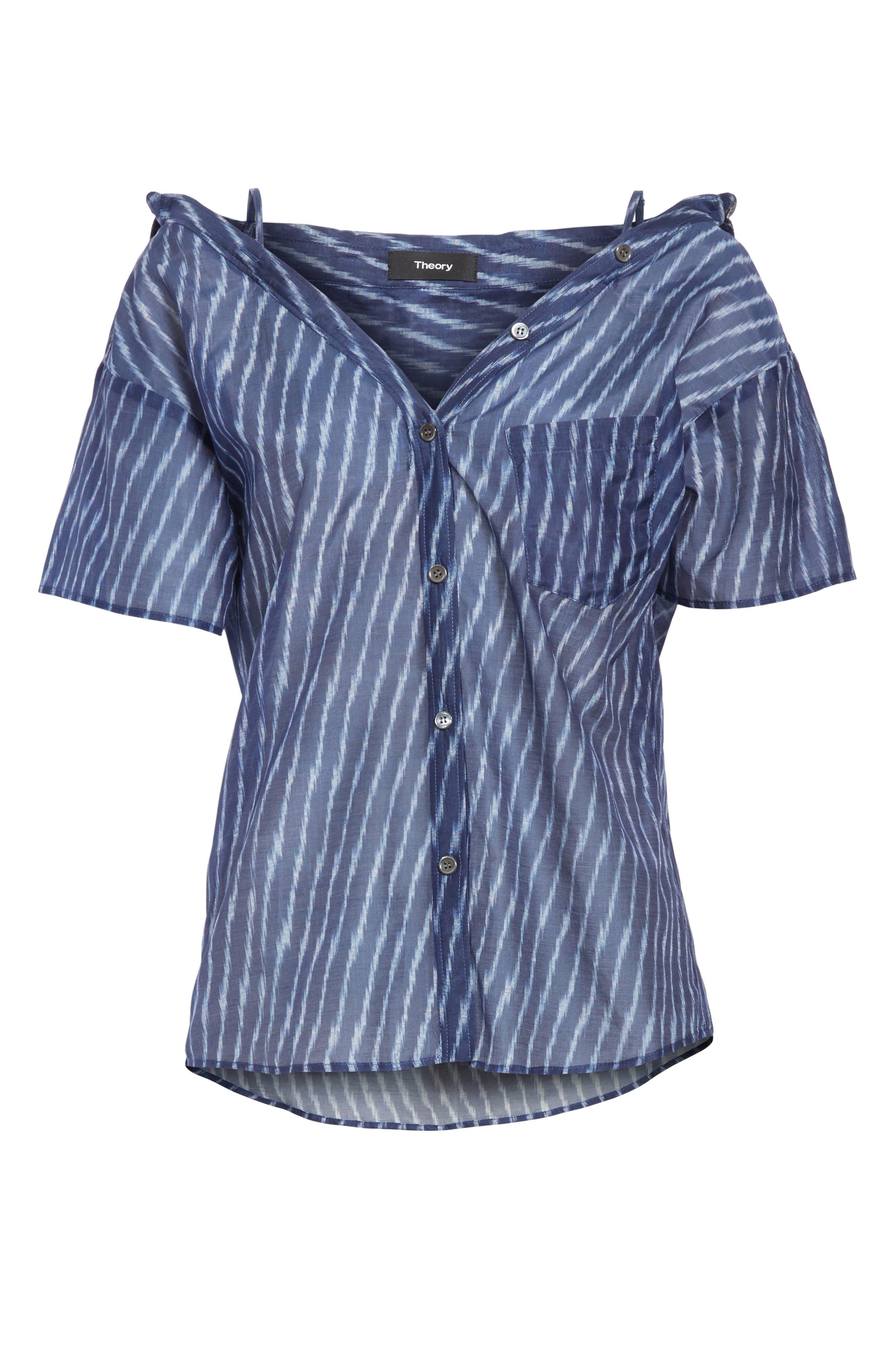 Modified Cold Shoulder Cotton Lawn Blouse,                             Alternate thumbnail 6, color,                             Blue Multi