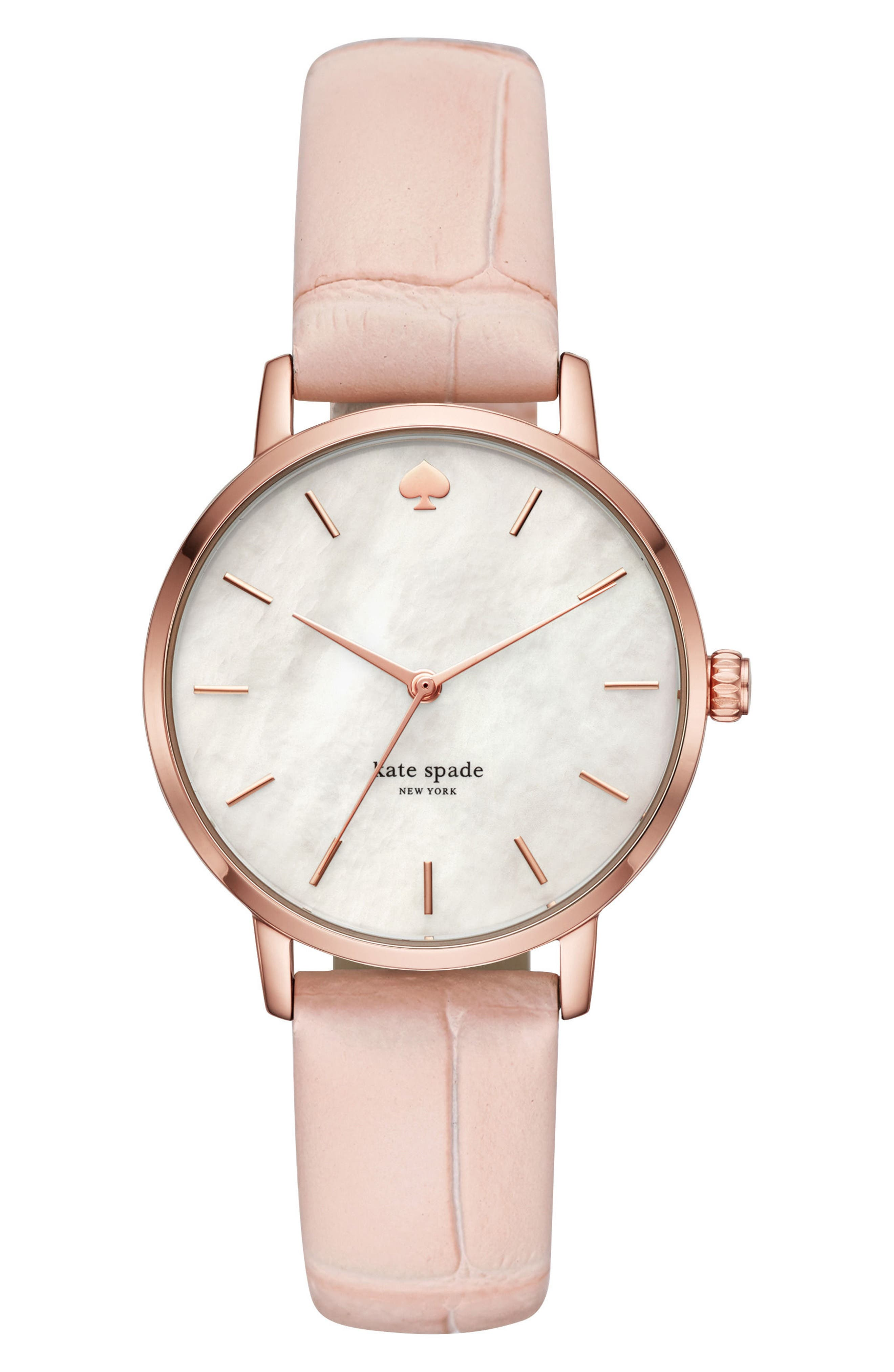 metro leather strap watch, 34mm,                             Main thumbnail 1, color,                             Pink/ Mop/ Pink