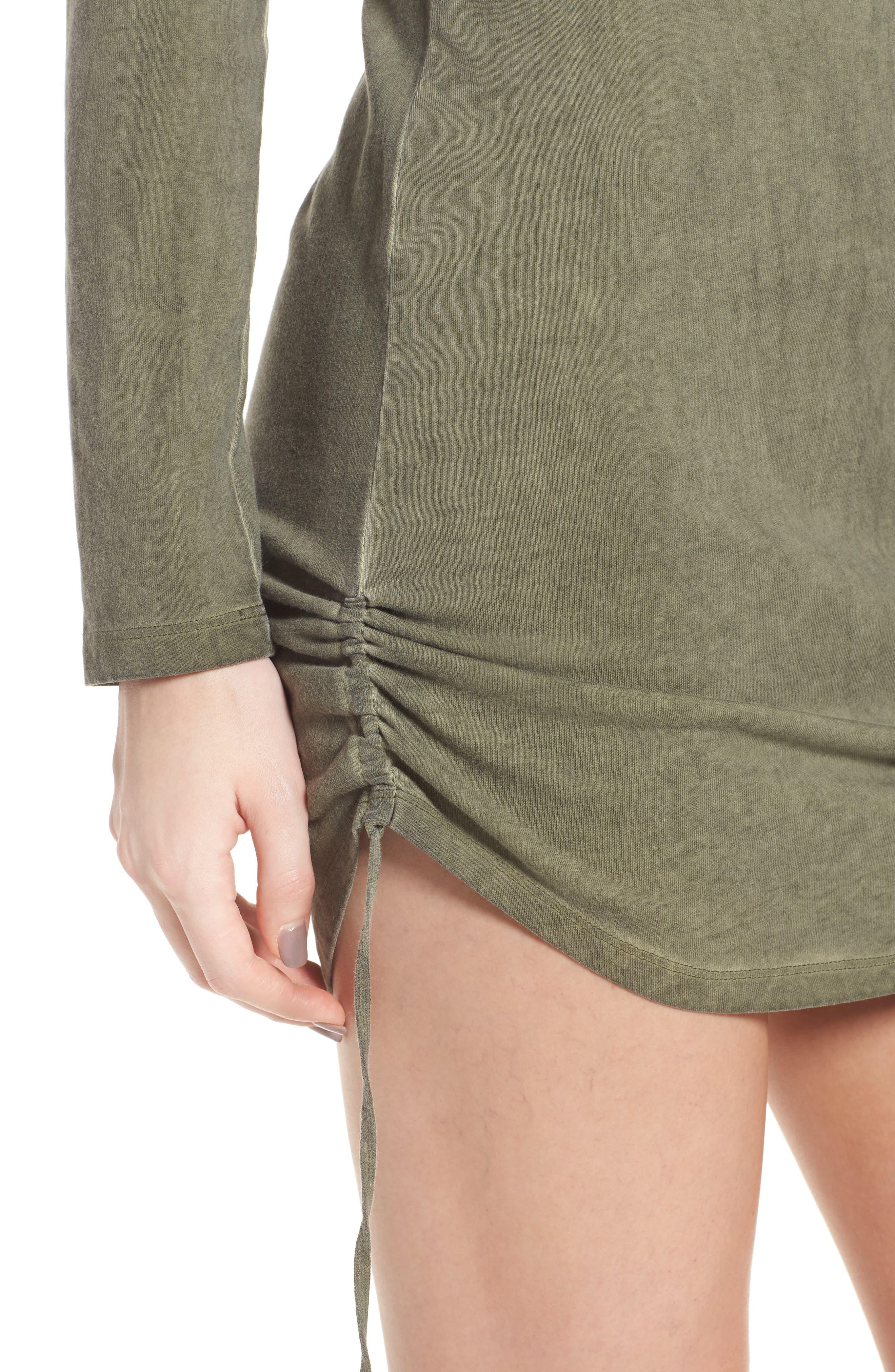 Scoop Neck Body-Con Dress,                             Alternate thumbnail 4, color,                             Olive Smoke