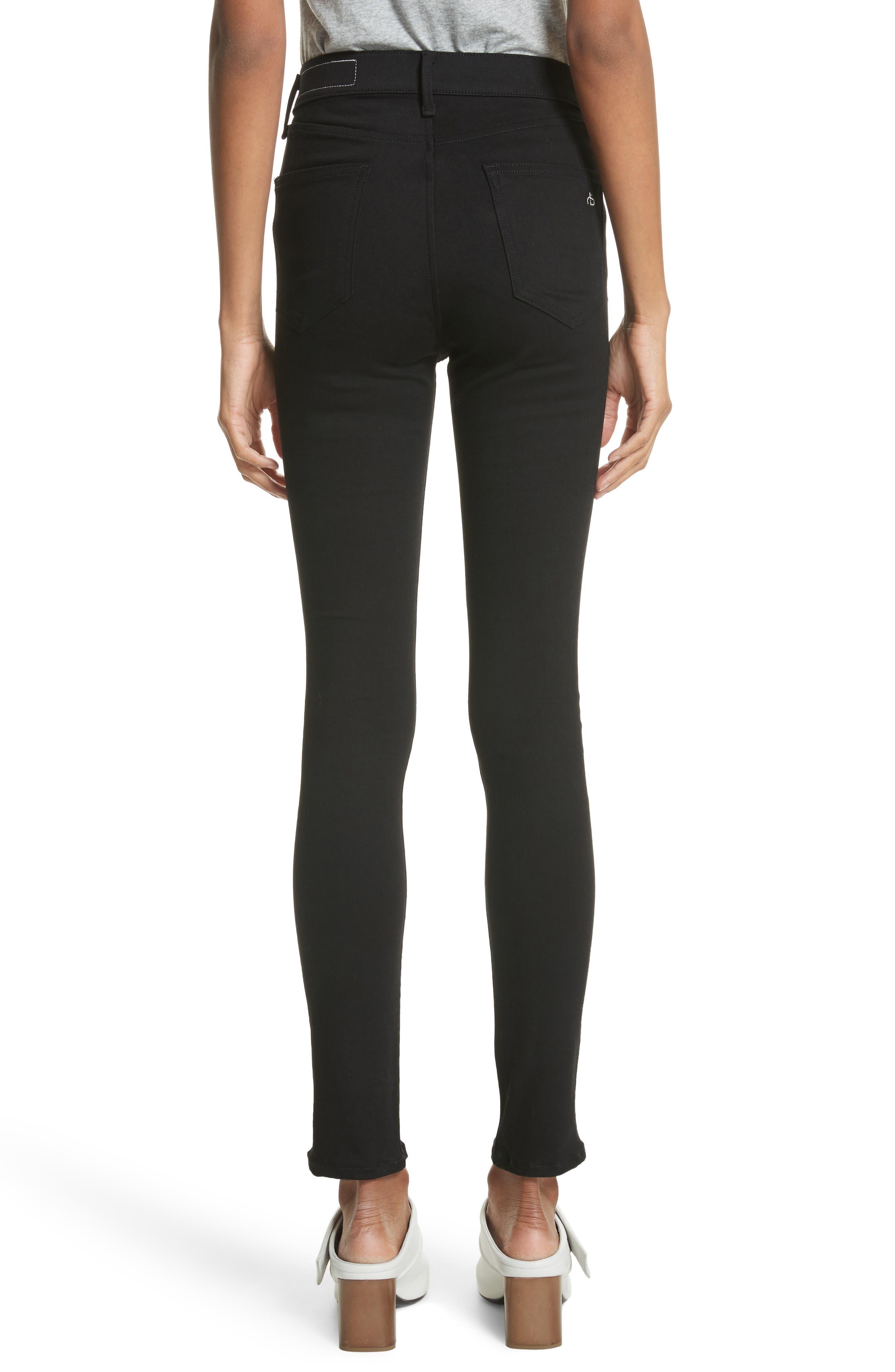 Isabel High Waist Skinny Jeans,                             Alternate thumbnail 2, color,                             Black