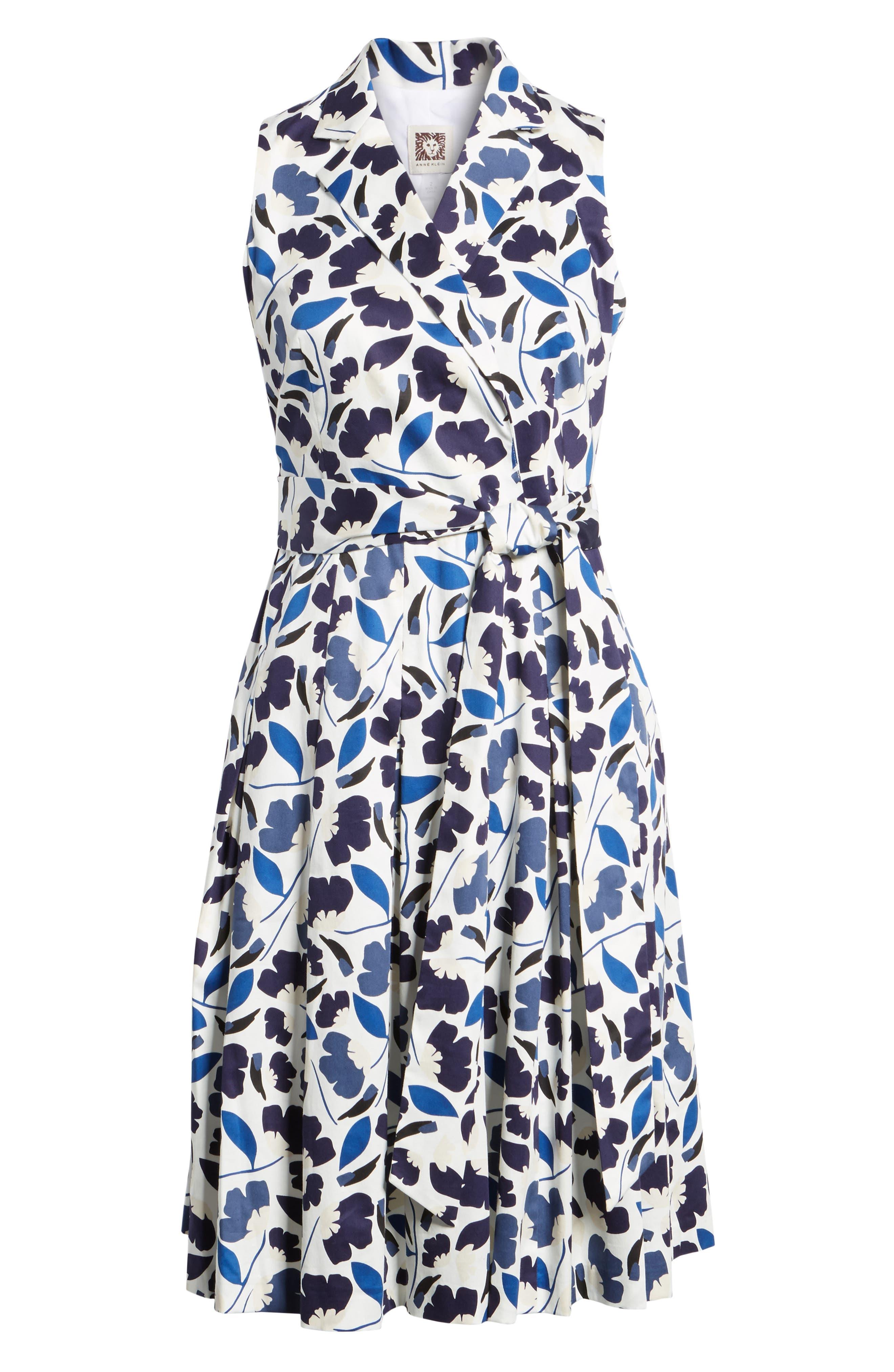 New York Humboldt Cotton Sateen Dress,                             Alternate thumbnail 6, color,                             Monaco Combo