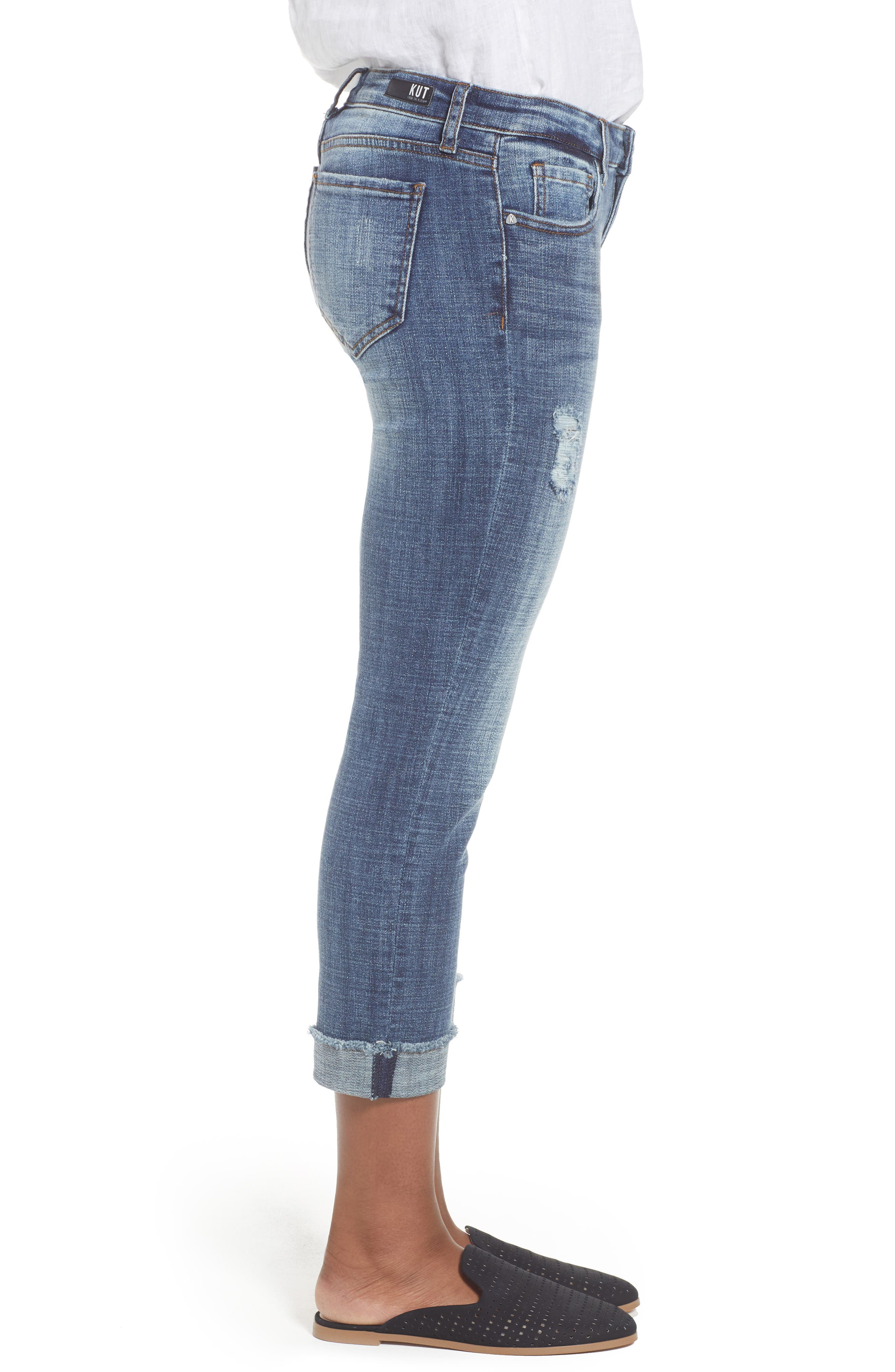 Amy Distressed Crop Jeans,                             Alternate thumbnail 3, color,                             Soar