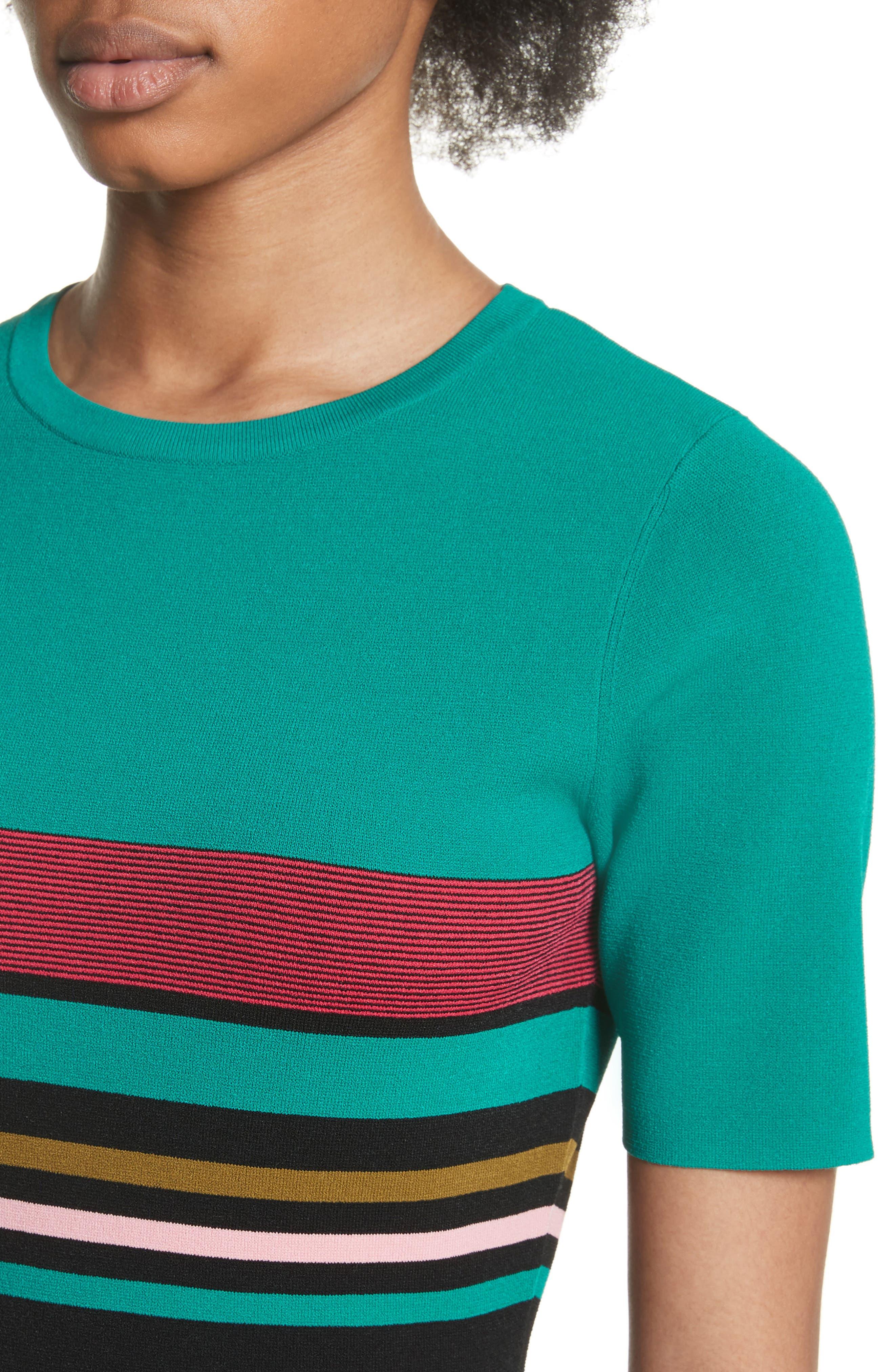 Diane von Furstenberg Stripe Short Sleeve Sweater Dress,                             Alternate thumbnail 4, color,                             Juniper Multi