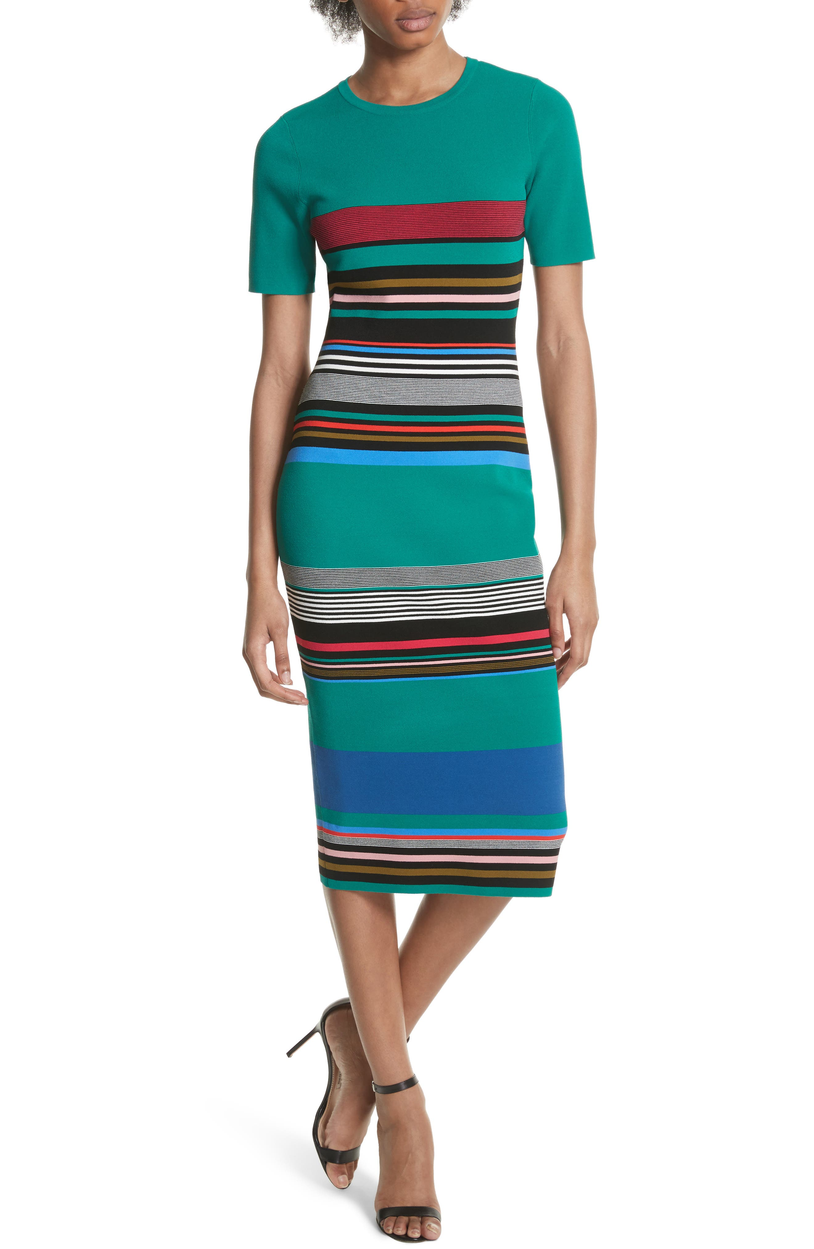 Diane von Furstenberg Stripe Short Sleeve Sweater Dress,                         Main,                         color, Juniper Multi