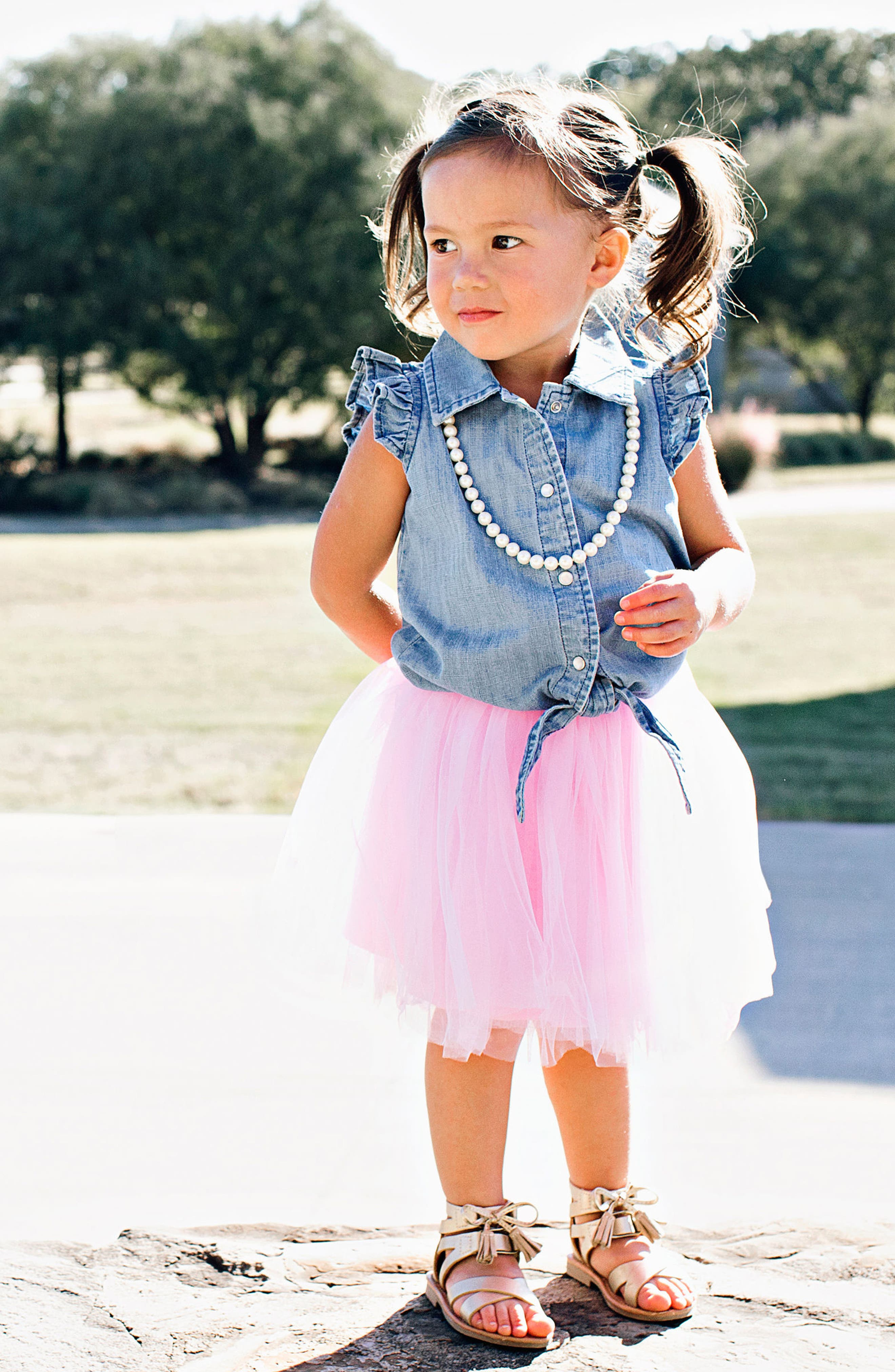 Chambray Tie Top & Tulle Skirt Set,                             Alternate thumbnail 2, color,                             Pink
