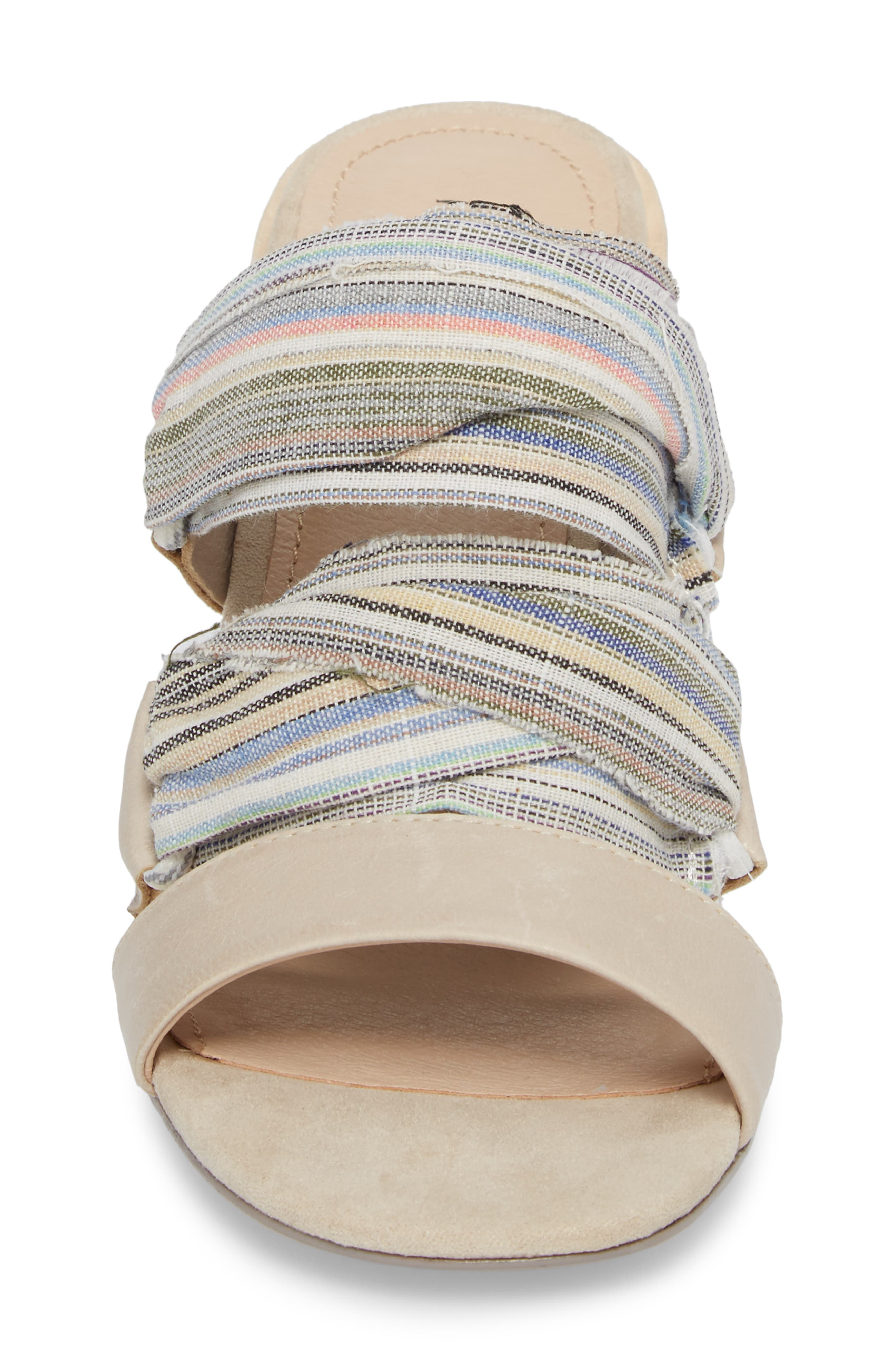 Monaco Block Heel Sandal,                             Alternate thumbnail 4, color,                             Bone/ Multi