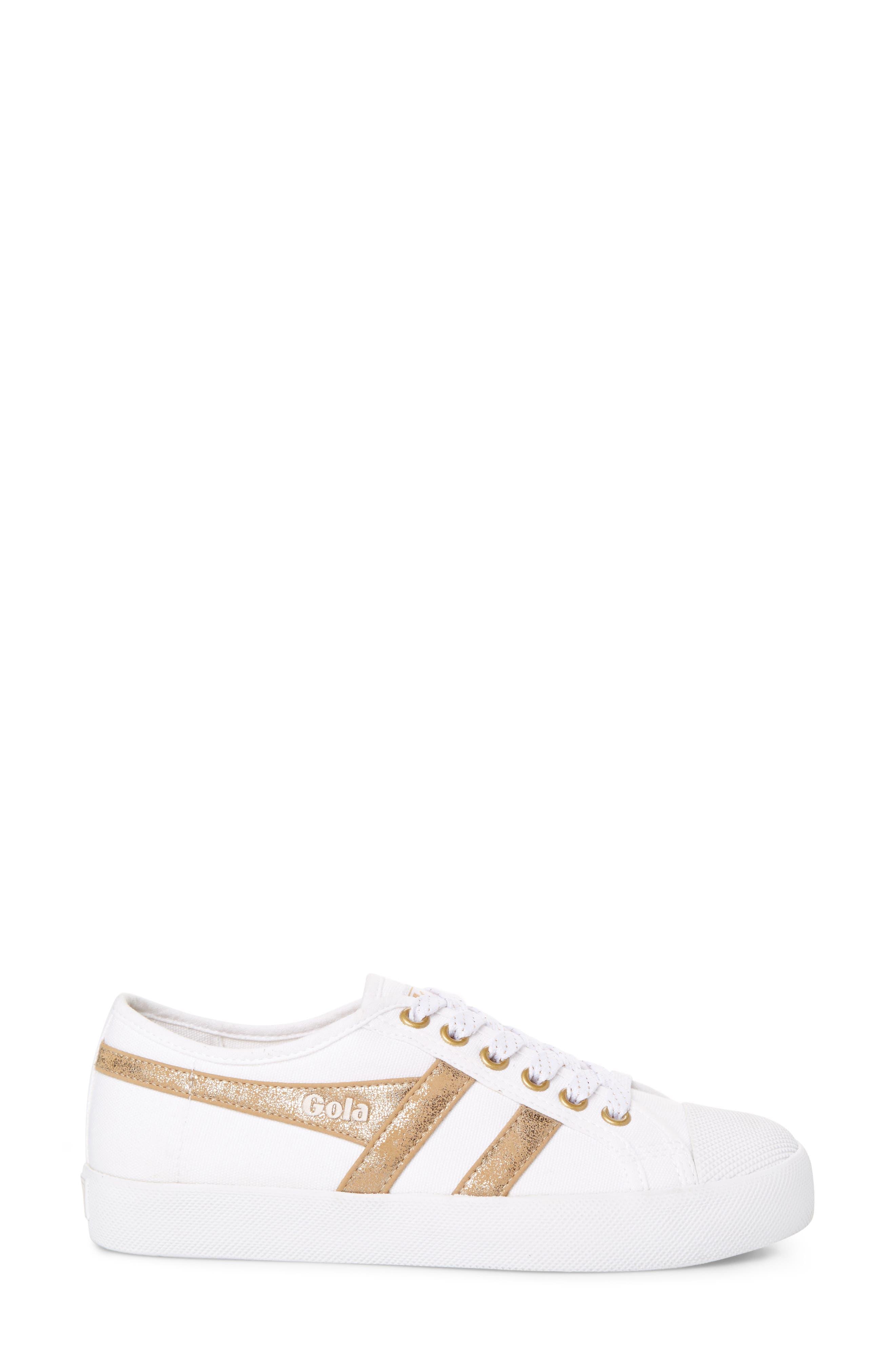 Coaster Mirror Sneaker,                             Alternate thumbnail 3, color,                             White/ Gold
