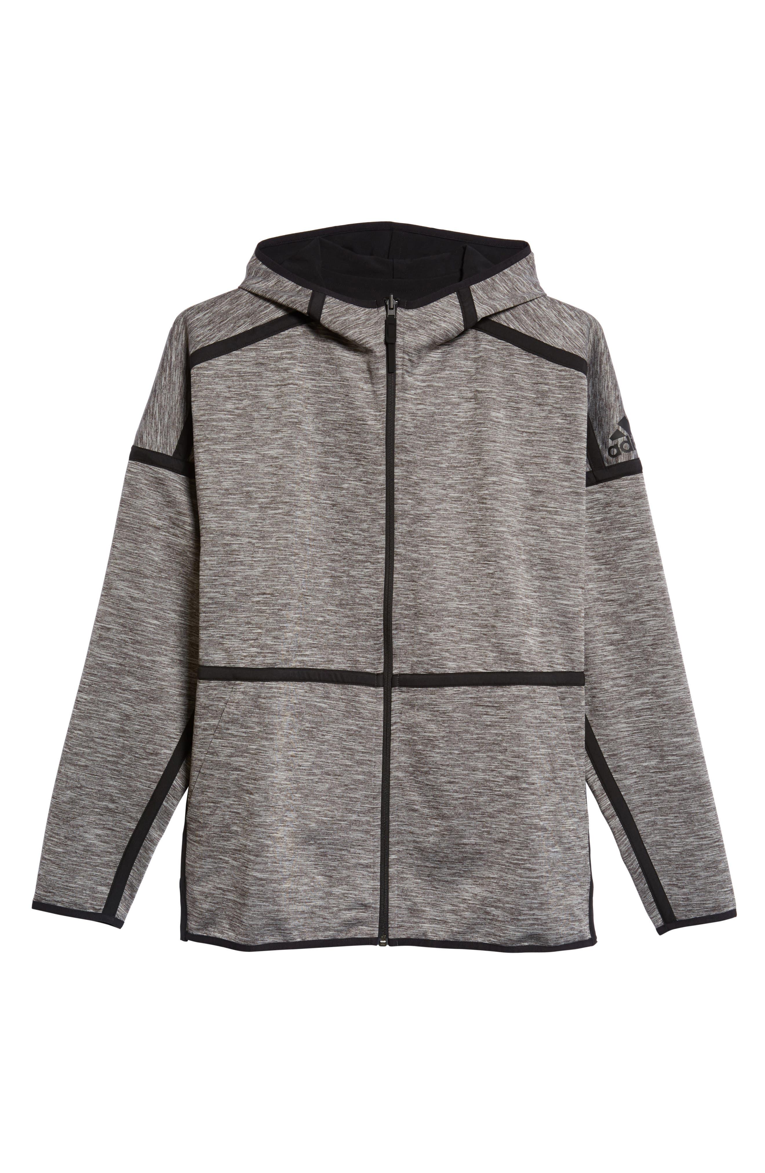 ZNE Regular Fit Reversible Hooded Jacket,                             Alternate thumbnail 7, color,                             Black / Storm Heather/ Mgh