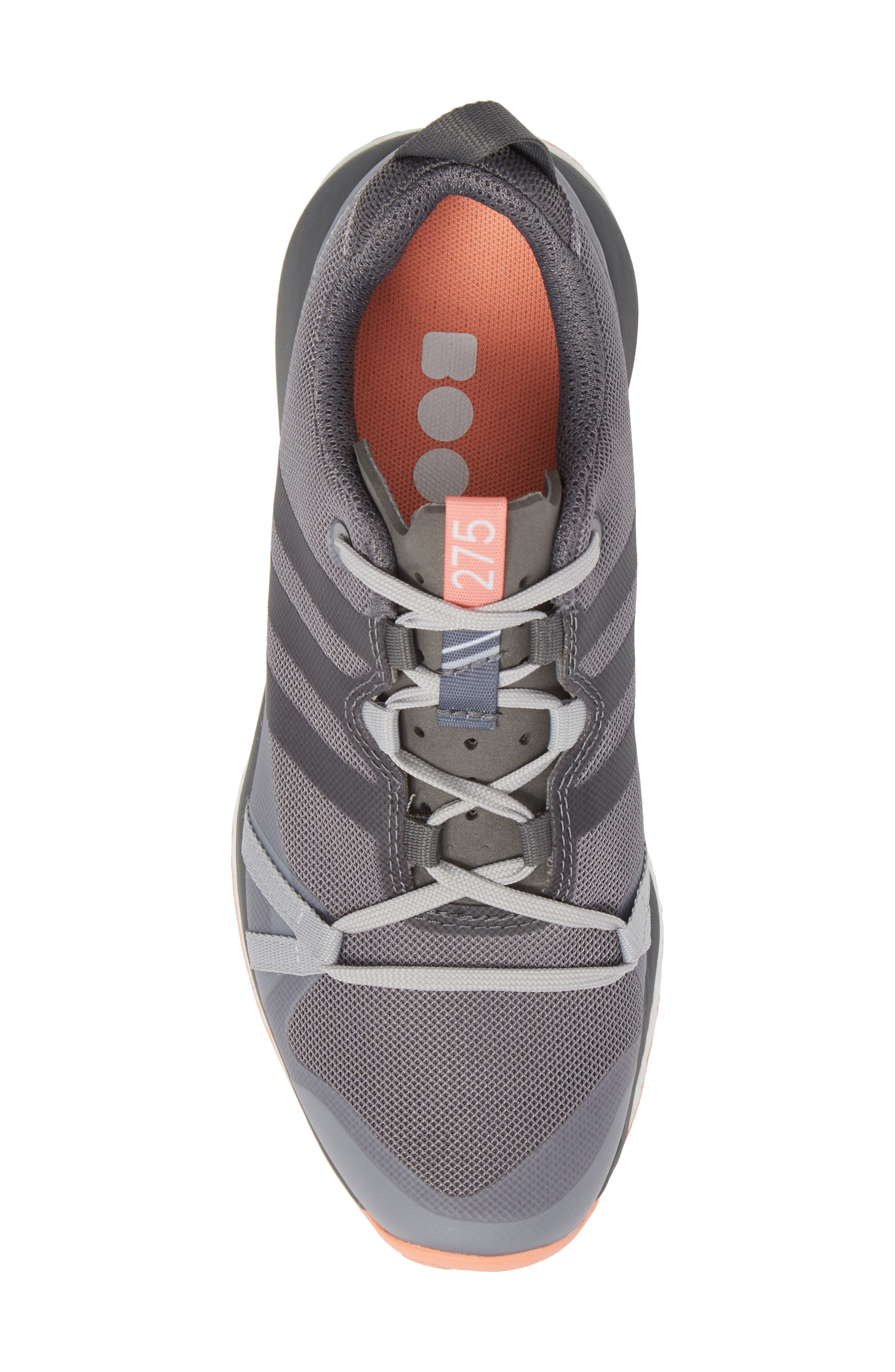 Terrex Agravic Trail Running Shoe,                             Alternate thumbnail 5, color,                             Grey Three/ Grey Four/ Coral