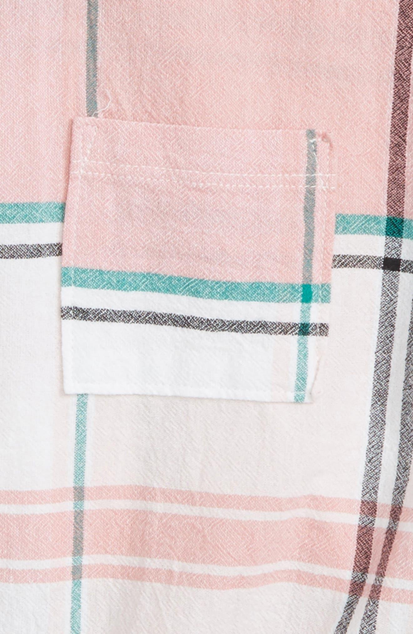 Tie Front Plaid Shirt,                             Alternate thumbnail 2, color,                             Coral Combo