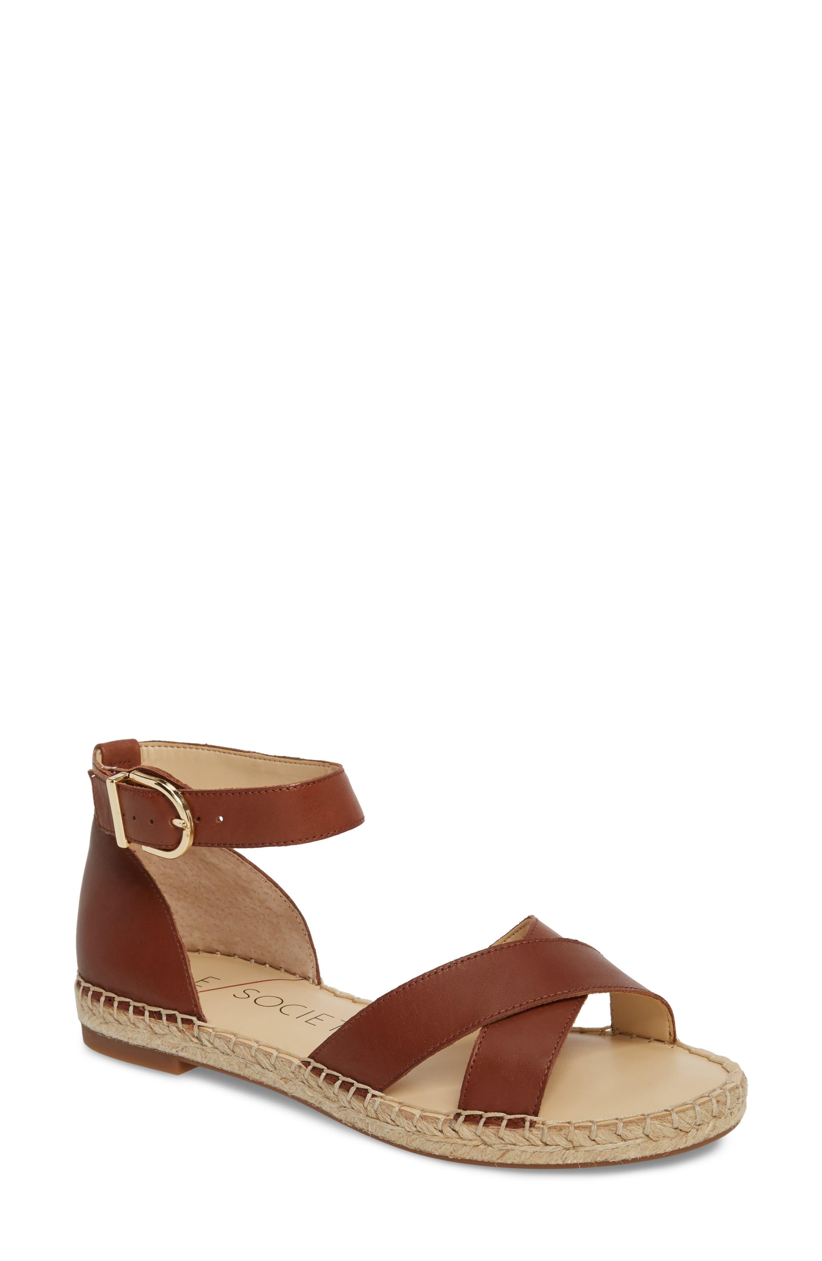 Saundra Espadrille Sandal,                             Main thumbnail 1, color,                             Cognac