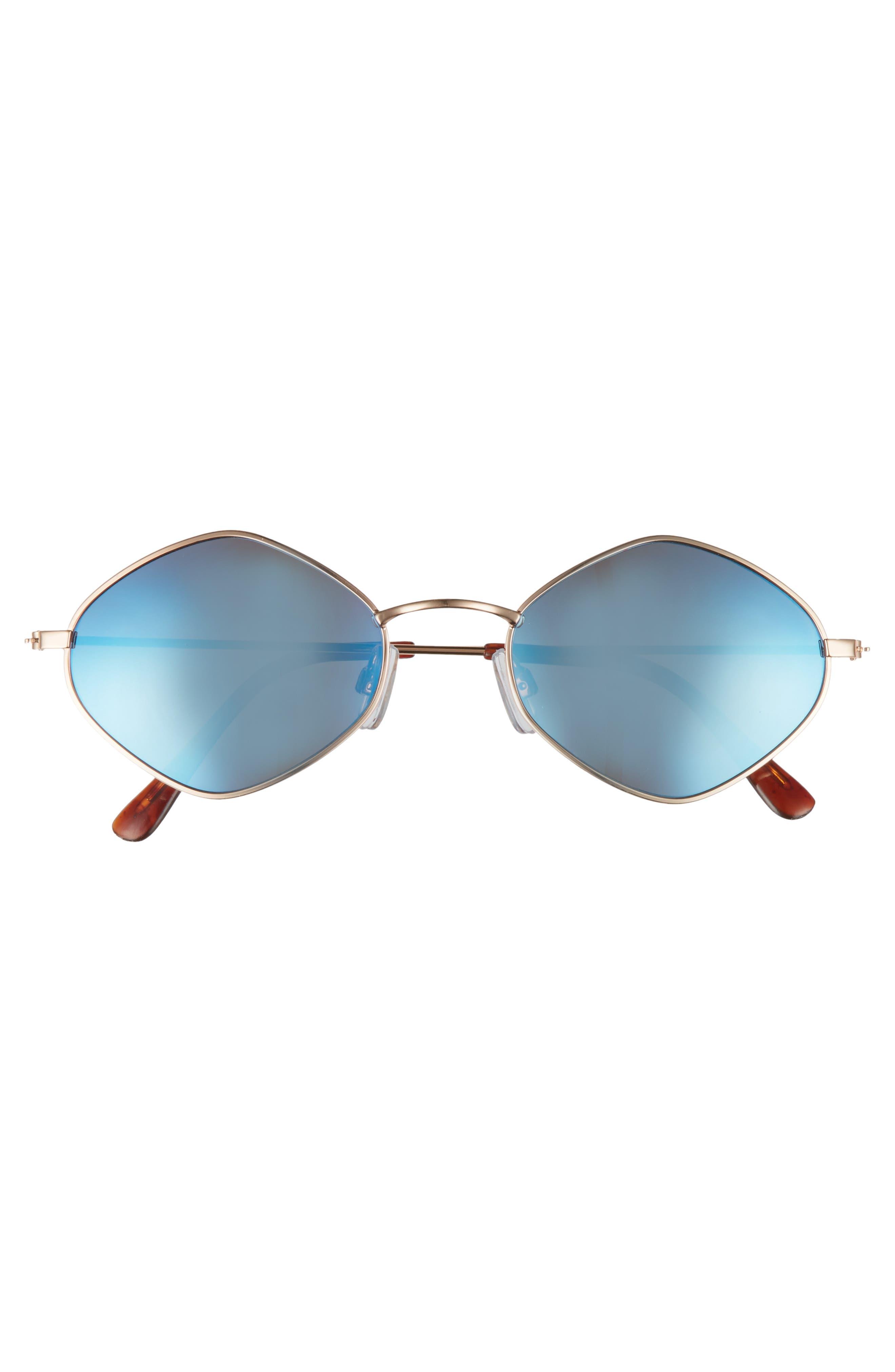 57mm Geo Sunglasses,                             Alternate thumbnail 3, color,                             Gold/ Blue