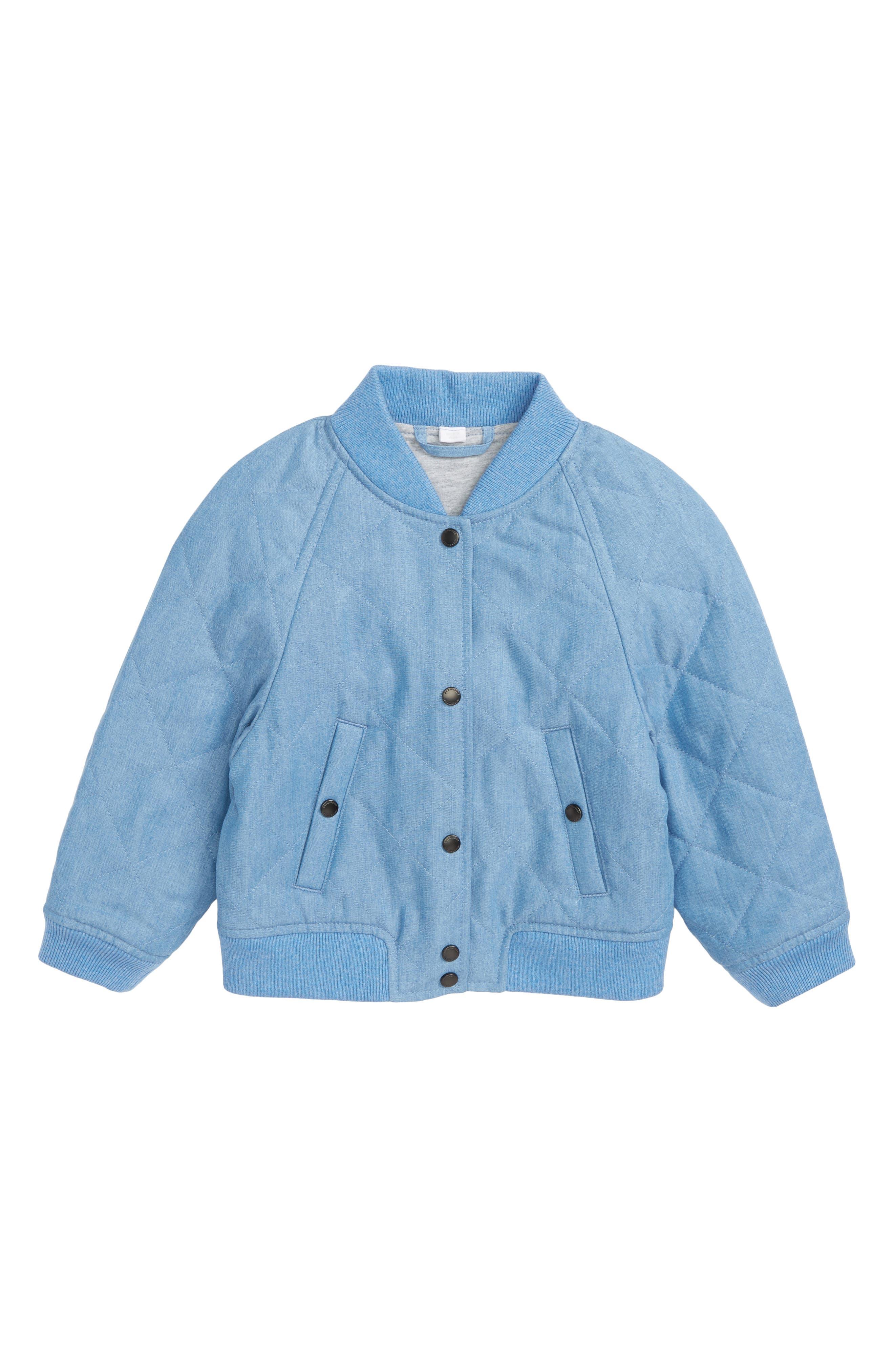 Joelle Quilted Denim Bomber Jacket,                             Main thumbnail 1, color,                             Steel Blue