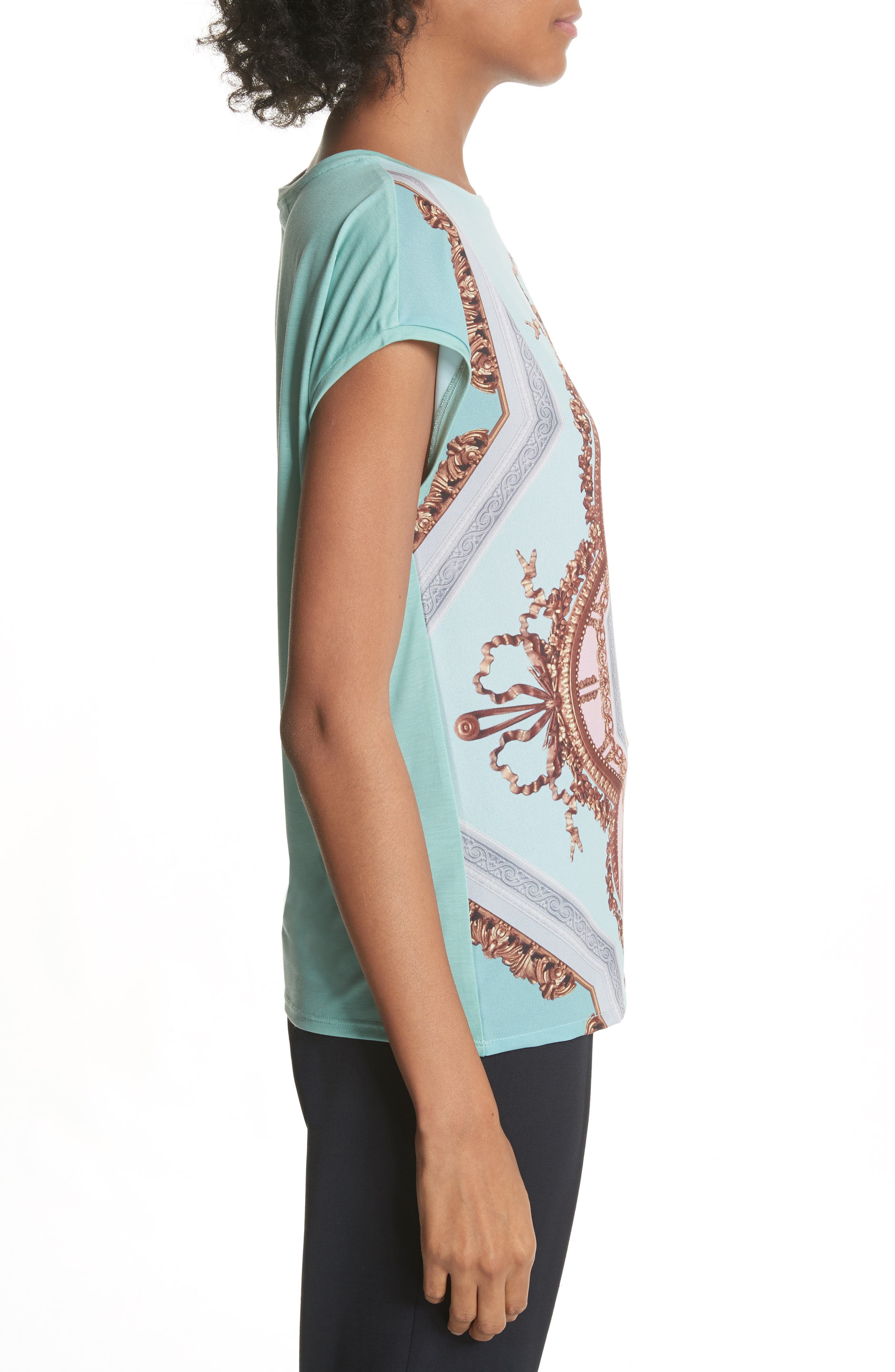 Versailles Woven Front Tee,                             Alternate thumbnail 3, color,                             Teal