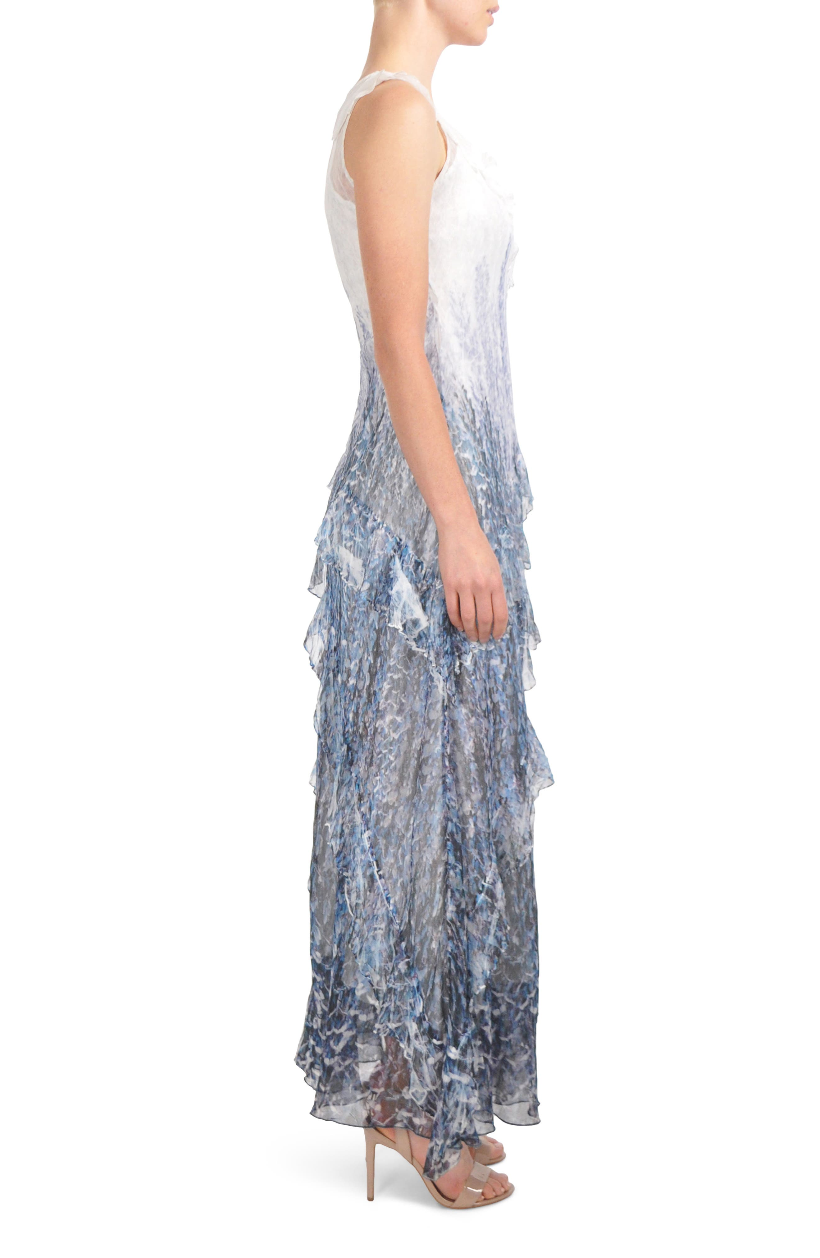 Ruffled Charmeuse & Chiffon Gown with Wrap,                             Alternate thumbnail 3, color,                             Lupine Fields