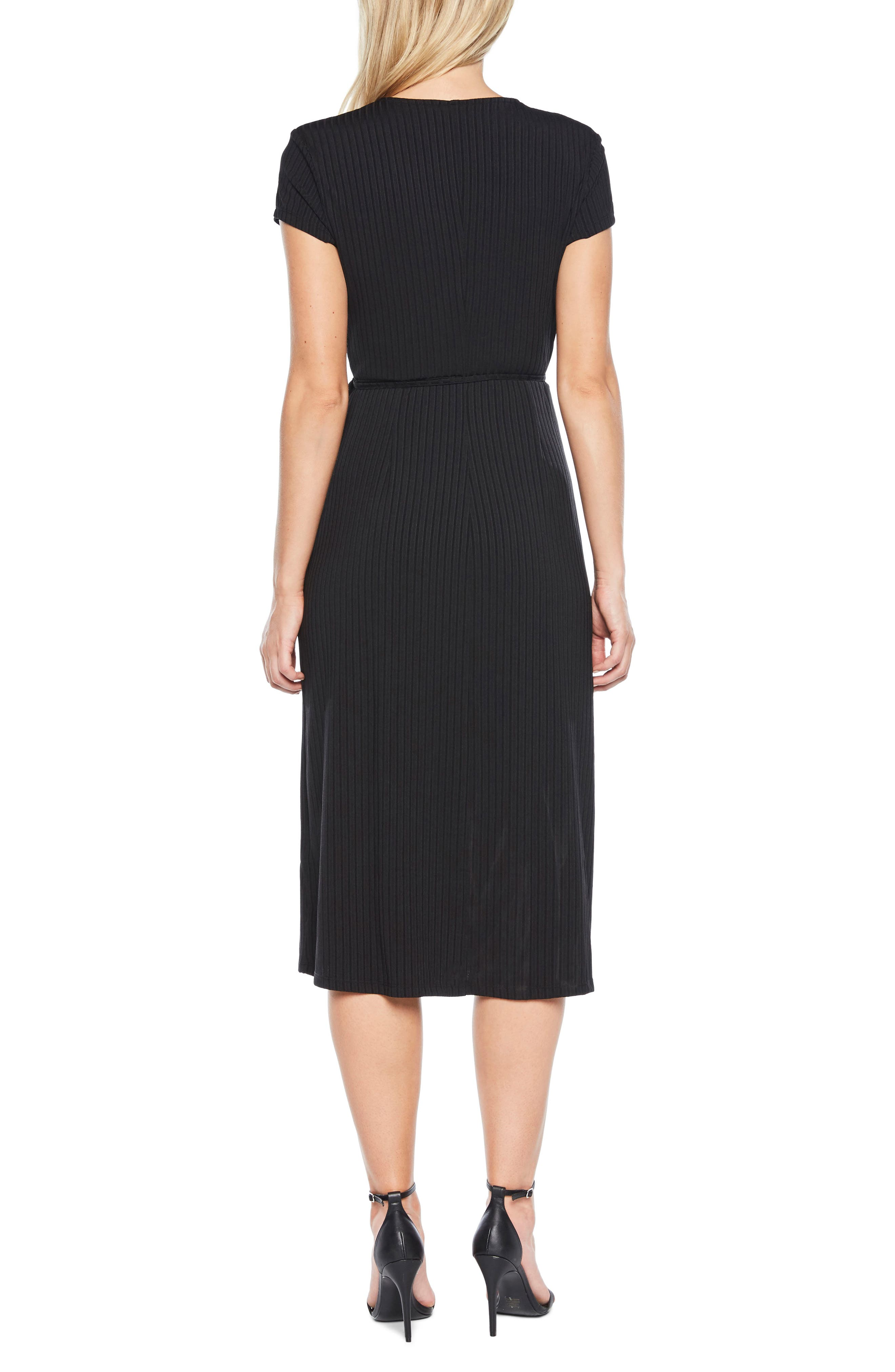 Stevie Wrap Dress,                             Alternate thumbnail 2, color,                             Black
