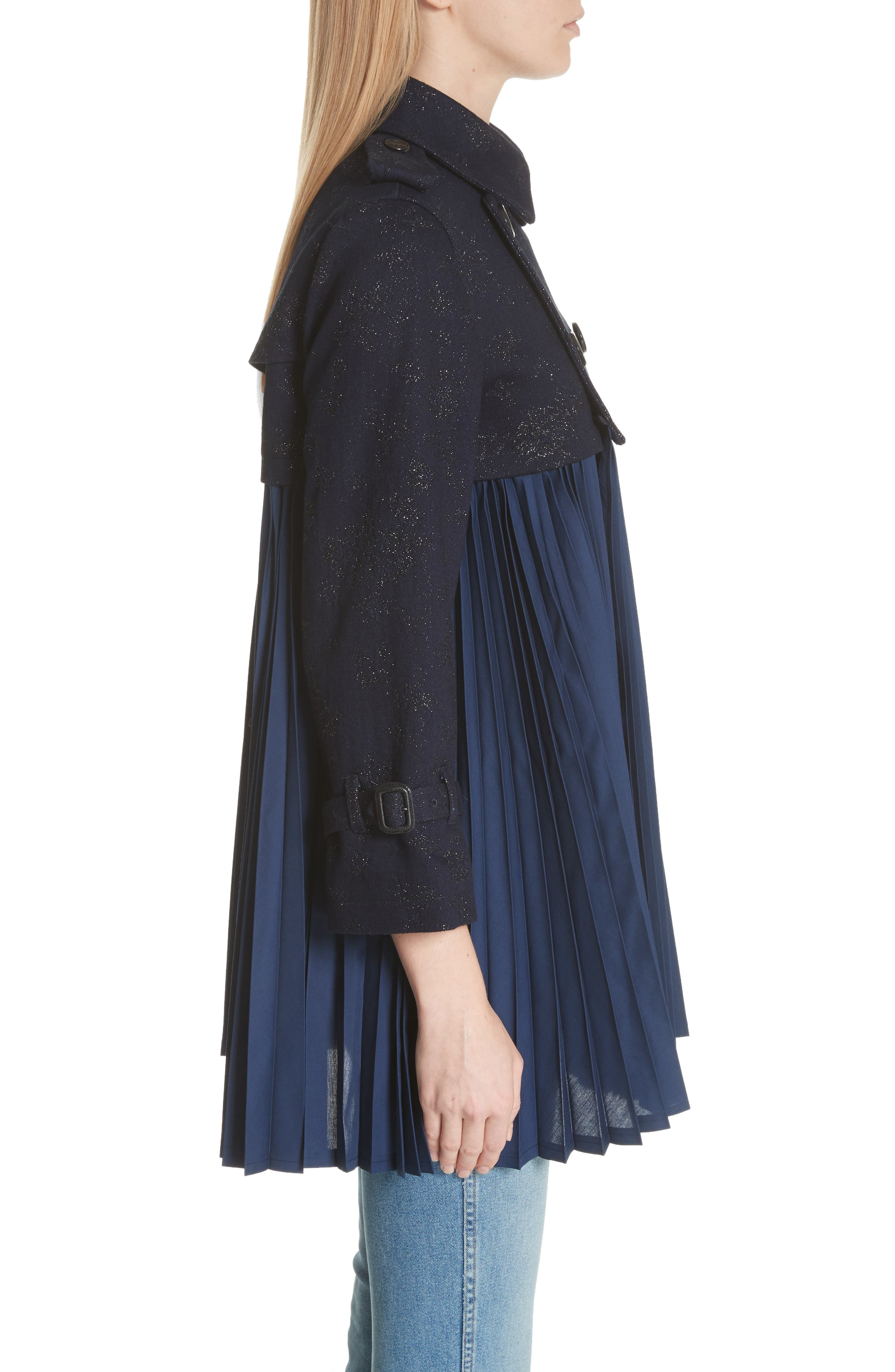 Pleated Trench Coat,                             Alternate thumbnail 3, color,                             Indigo-Blk-Nvy