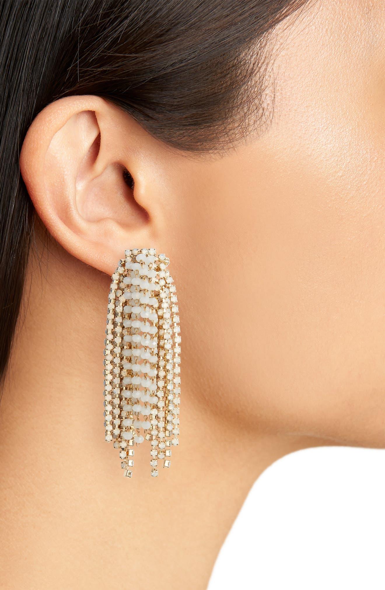 Crystal Statement Earrings,                             Alternate thumbnail 2, color,                             White