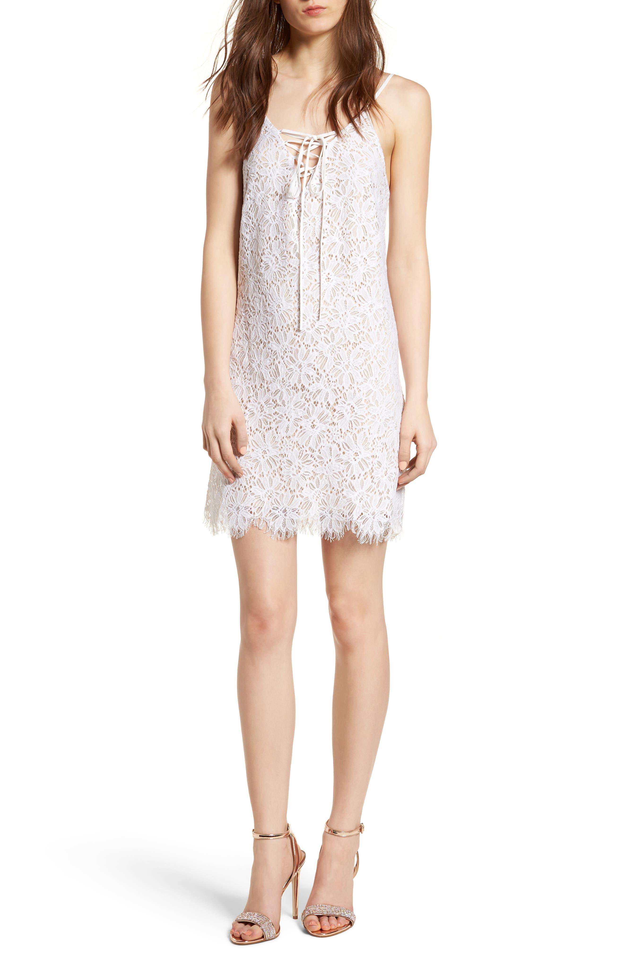 Lace-Up Lace Minidress,                         Main,                         color, White/ Ivory