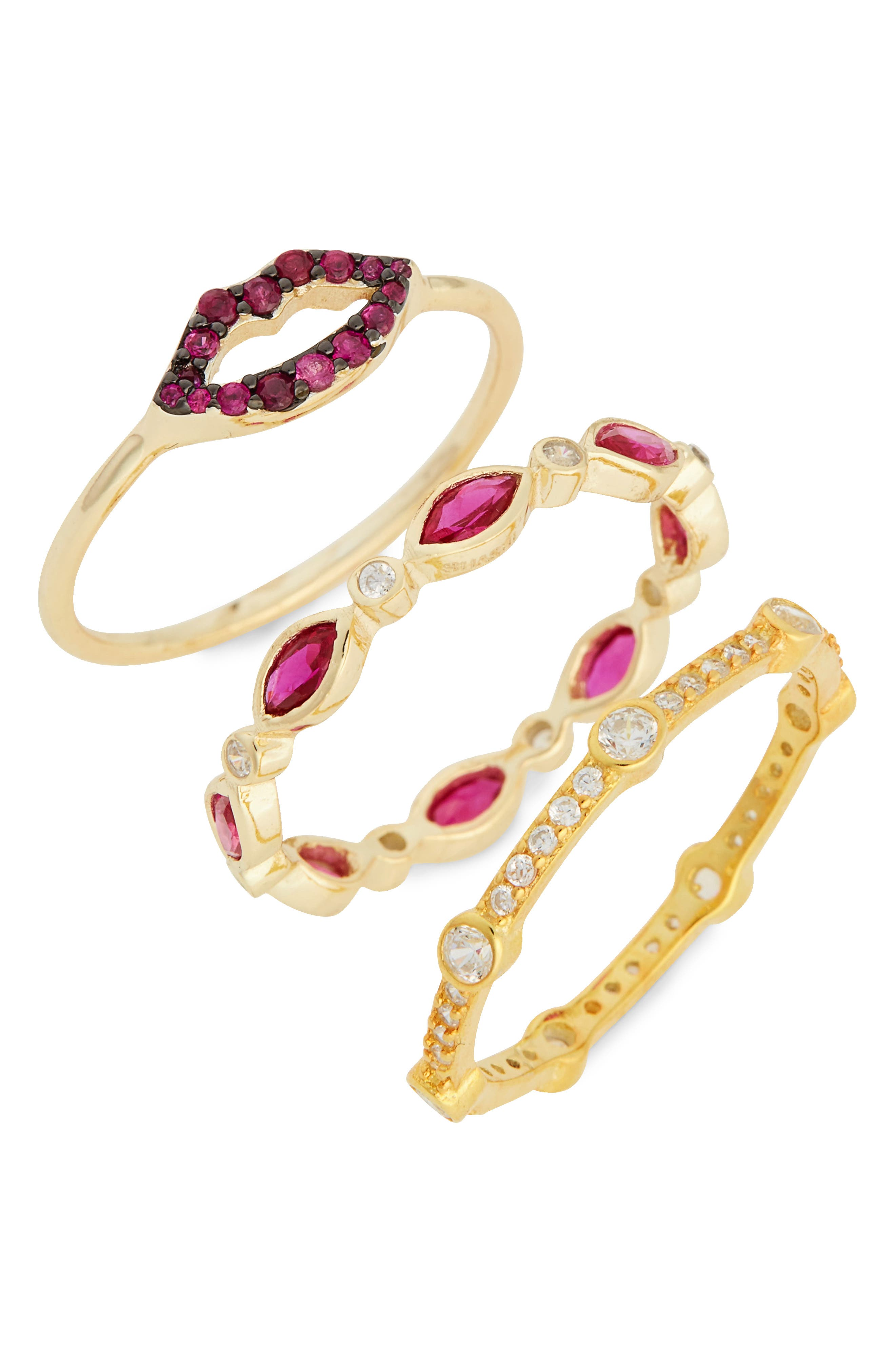 Katie Set of 3 Crystal Vermeil Rings,                             Main thumbnail 1, color,                             Yellow Gold/ Ruby