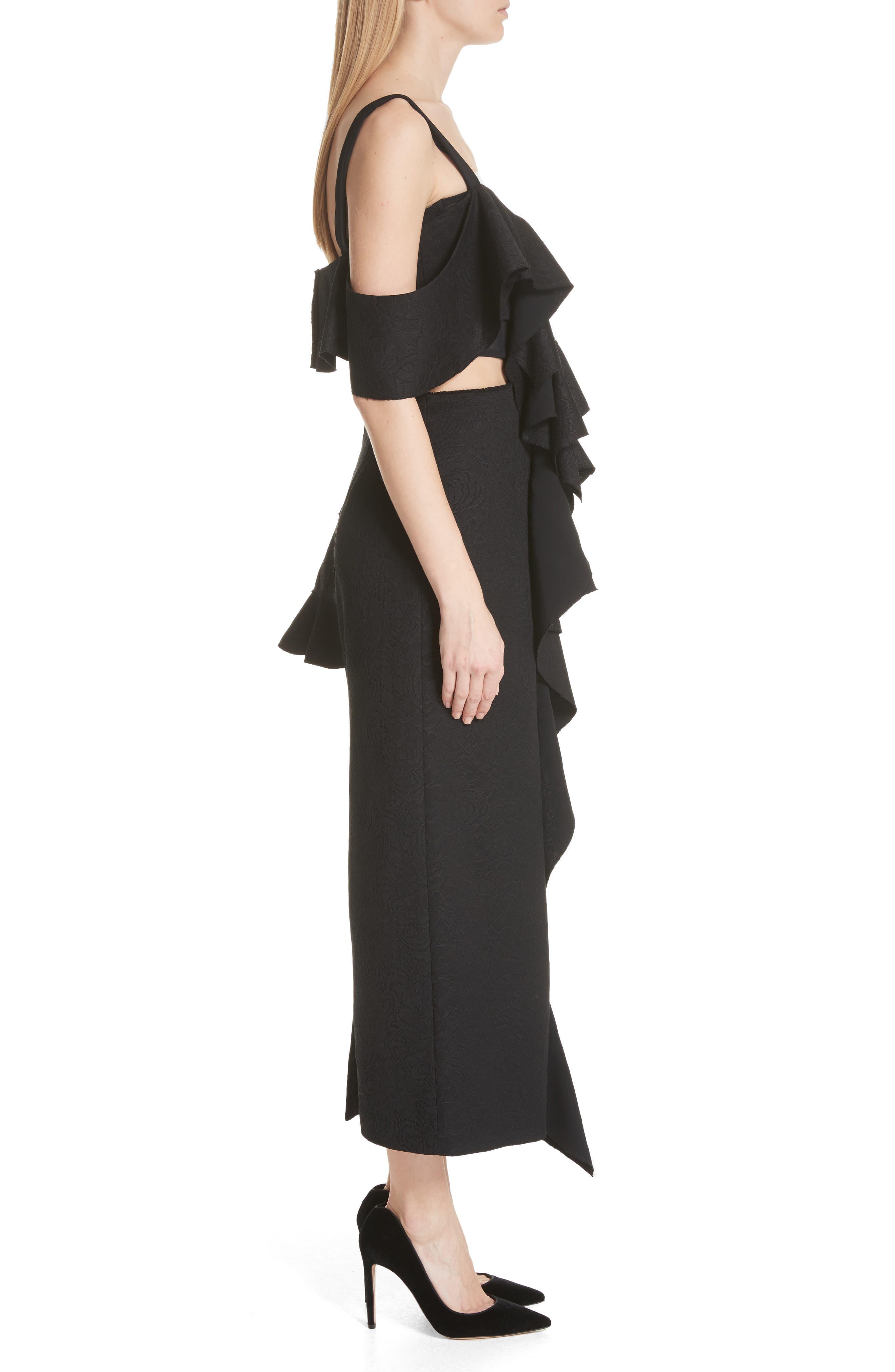 Ruffle Midi Dress,                             Alternate thumbnail 3, color,                             Black