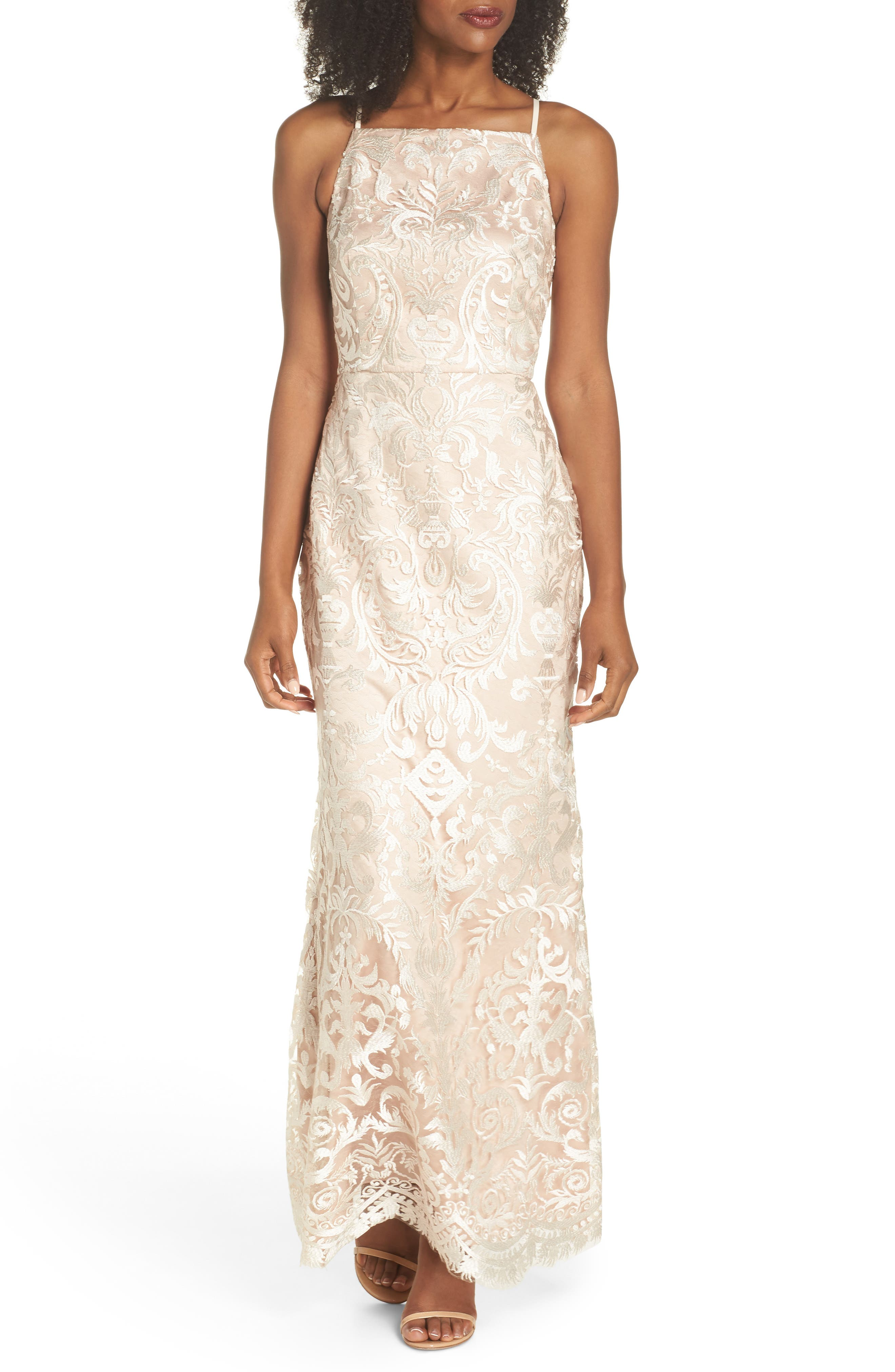 Sleeveless Embroidered Gown,                         Main,                         color, Champagne