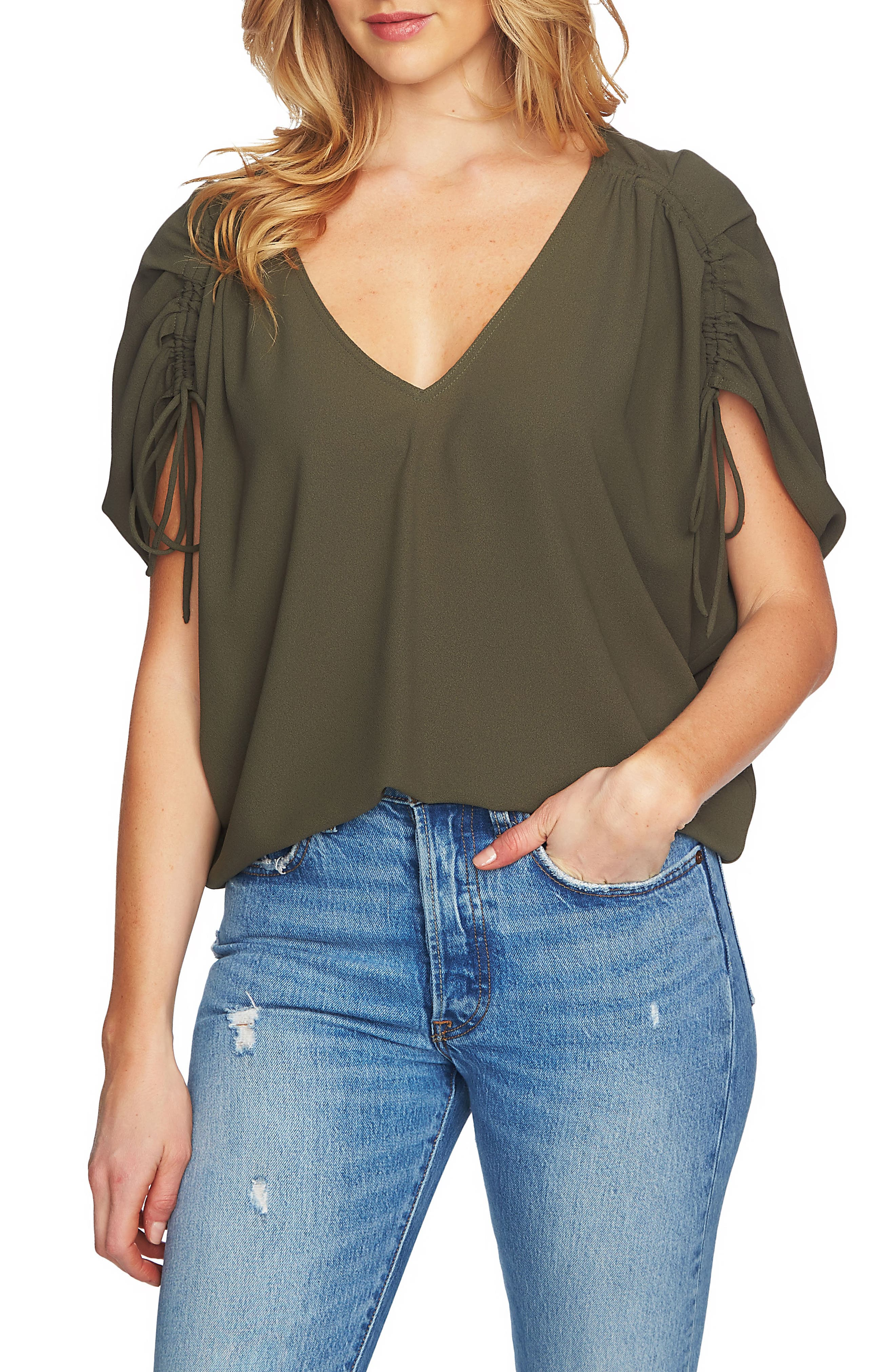 Cinch Sleeve Blouse,                             Main thumbnail 1, color,                             311-Olive Tree