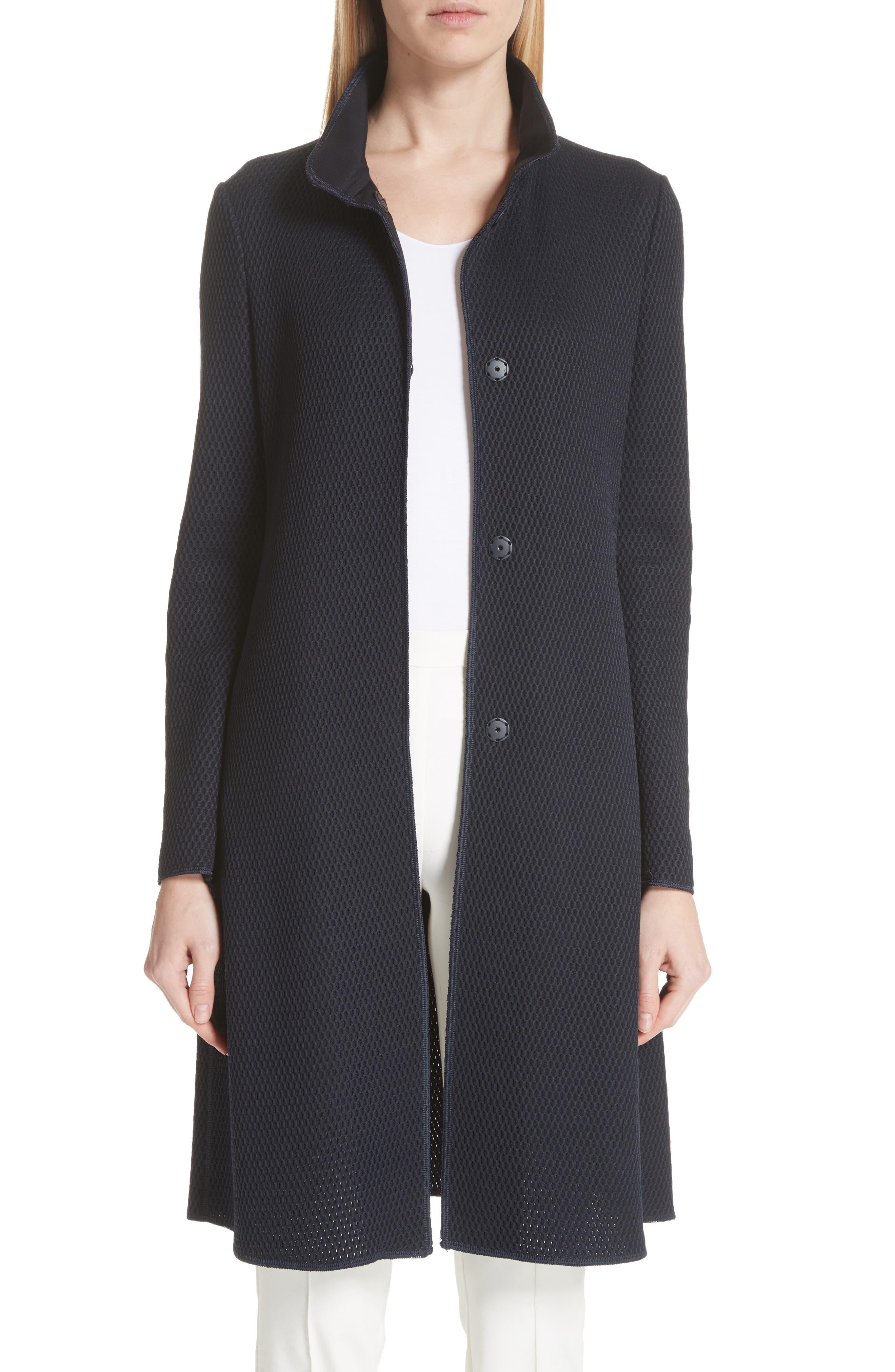 Honeycomb Knit Jersey Coat,                             Main thumbnail 1, color,                             Navy