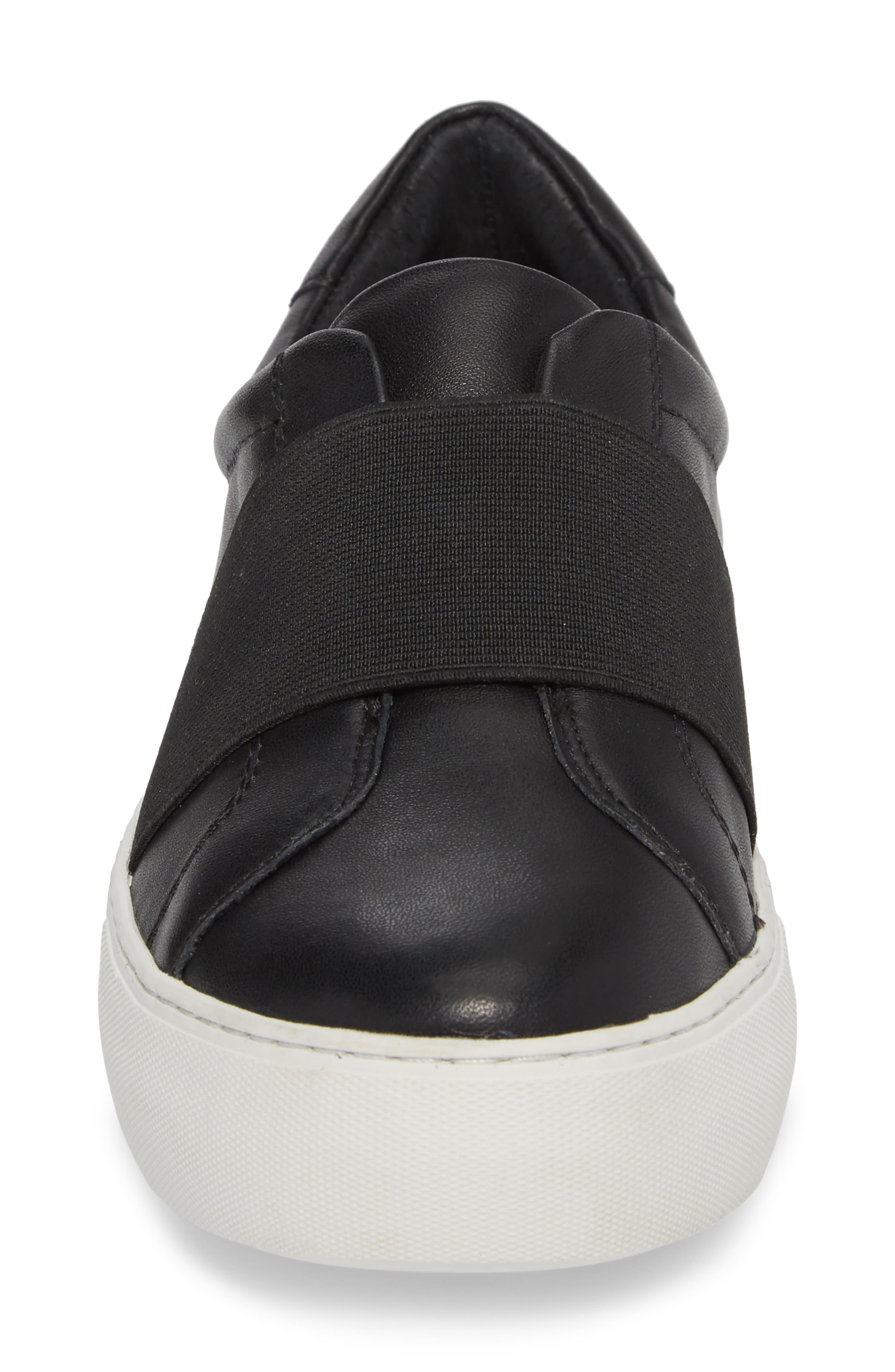 Adorn Slip-On Sneaker,                             Alternate thumbnail 4, color,                             Black/ Black Leather