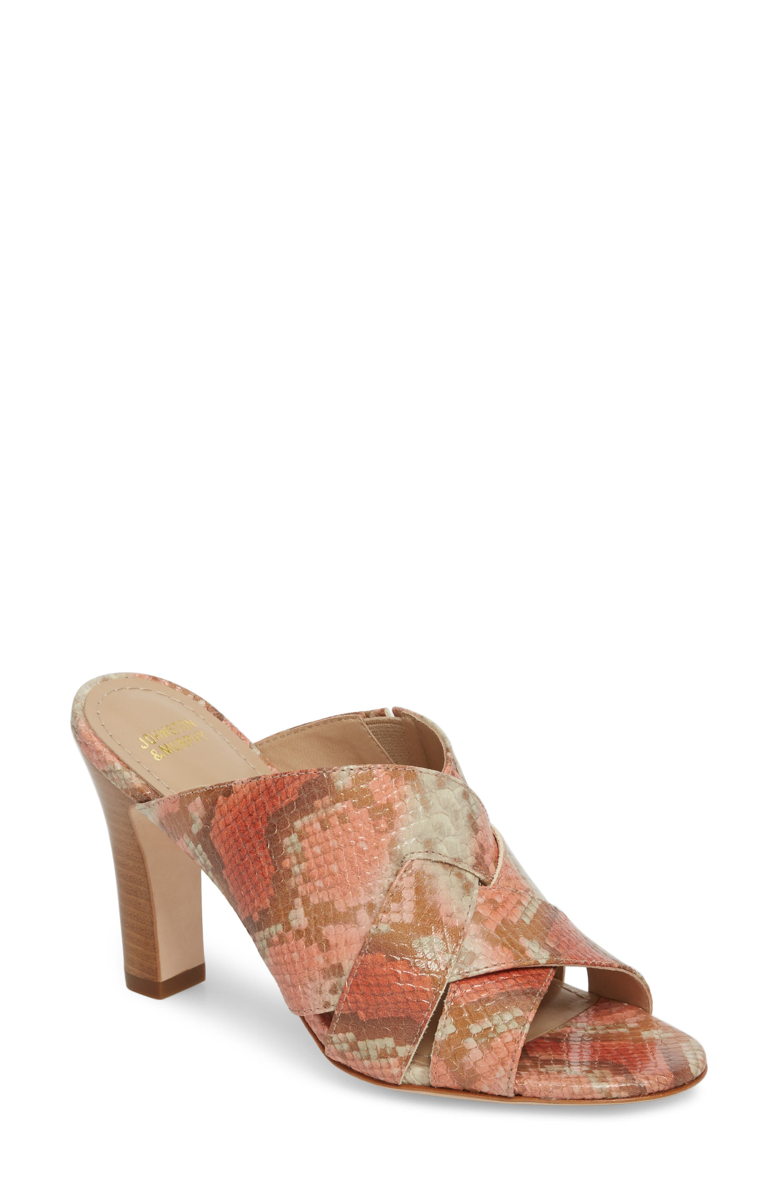 Carrie Mule Sandal,                             Main thumbnail 1, color,                             Coral Leather